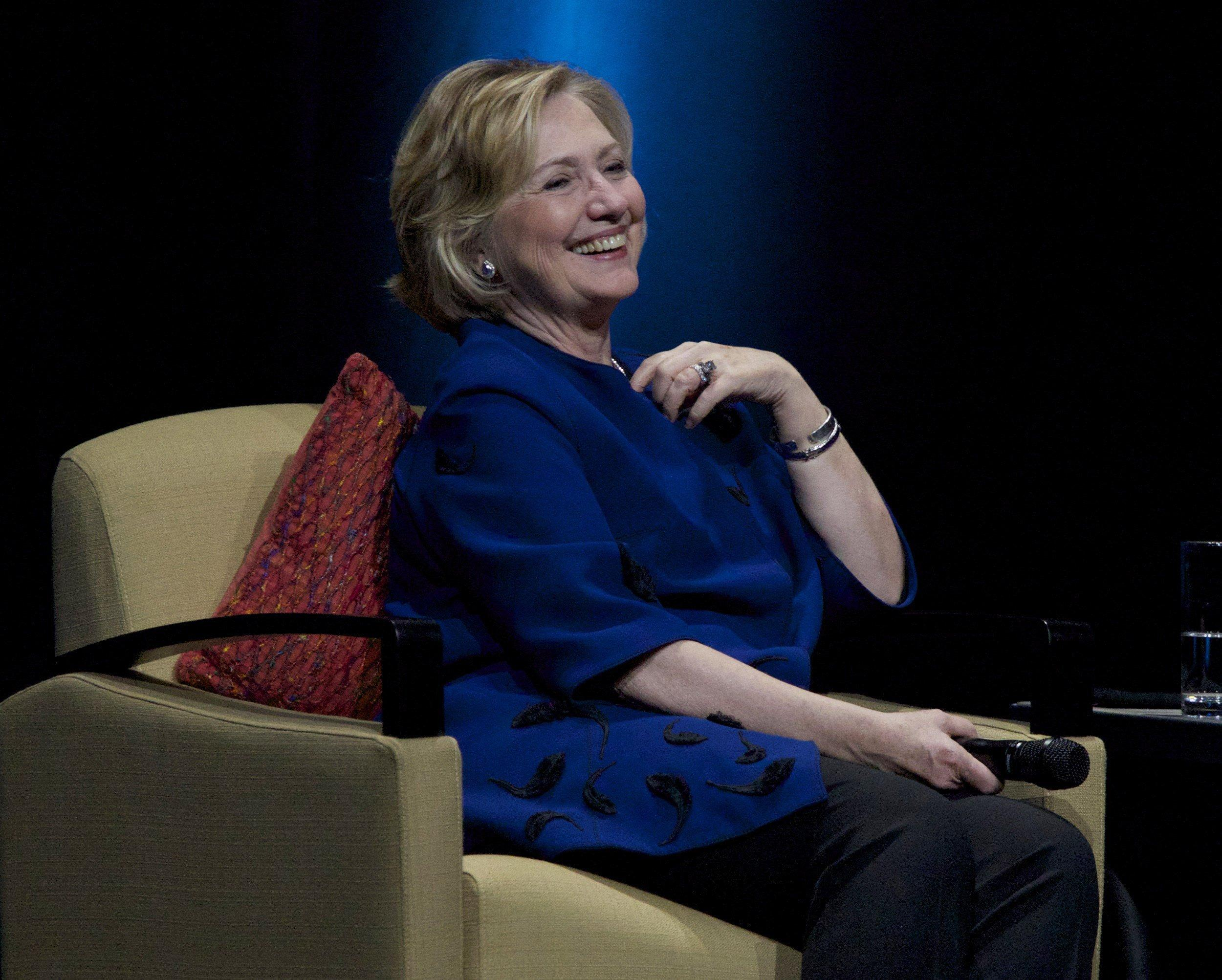 Image: Former Secretary of State Hillary Clinton speaks to members of the World Affairs Council of Oregan in Portland