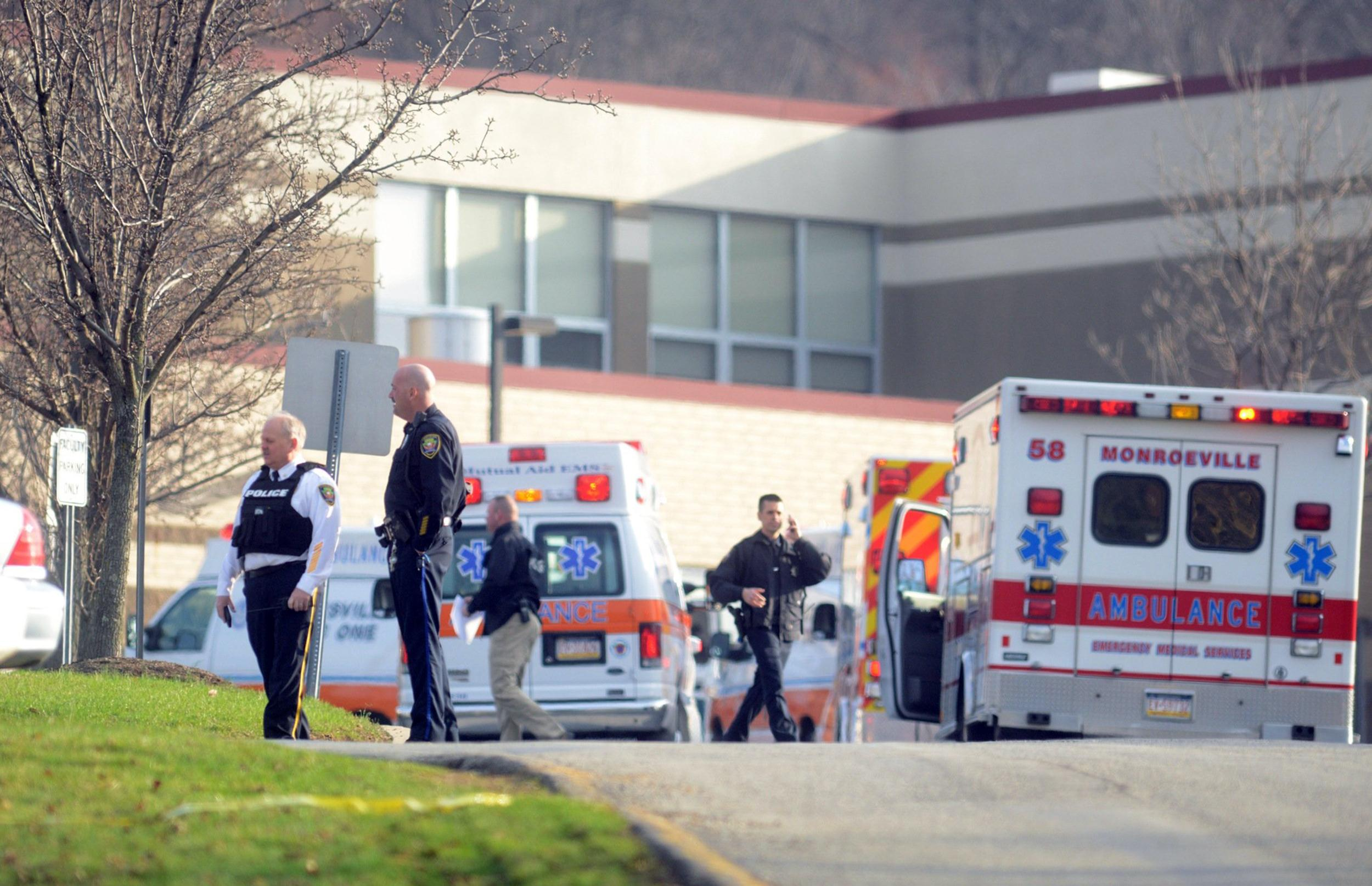 Image: The suspect in the Franklin Regional stabbings is taken from the Murrysville police station in Murrysville