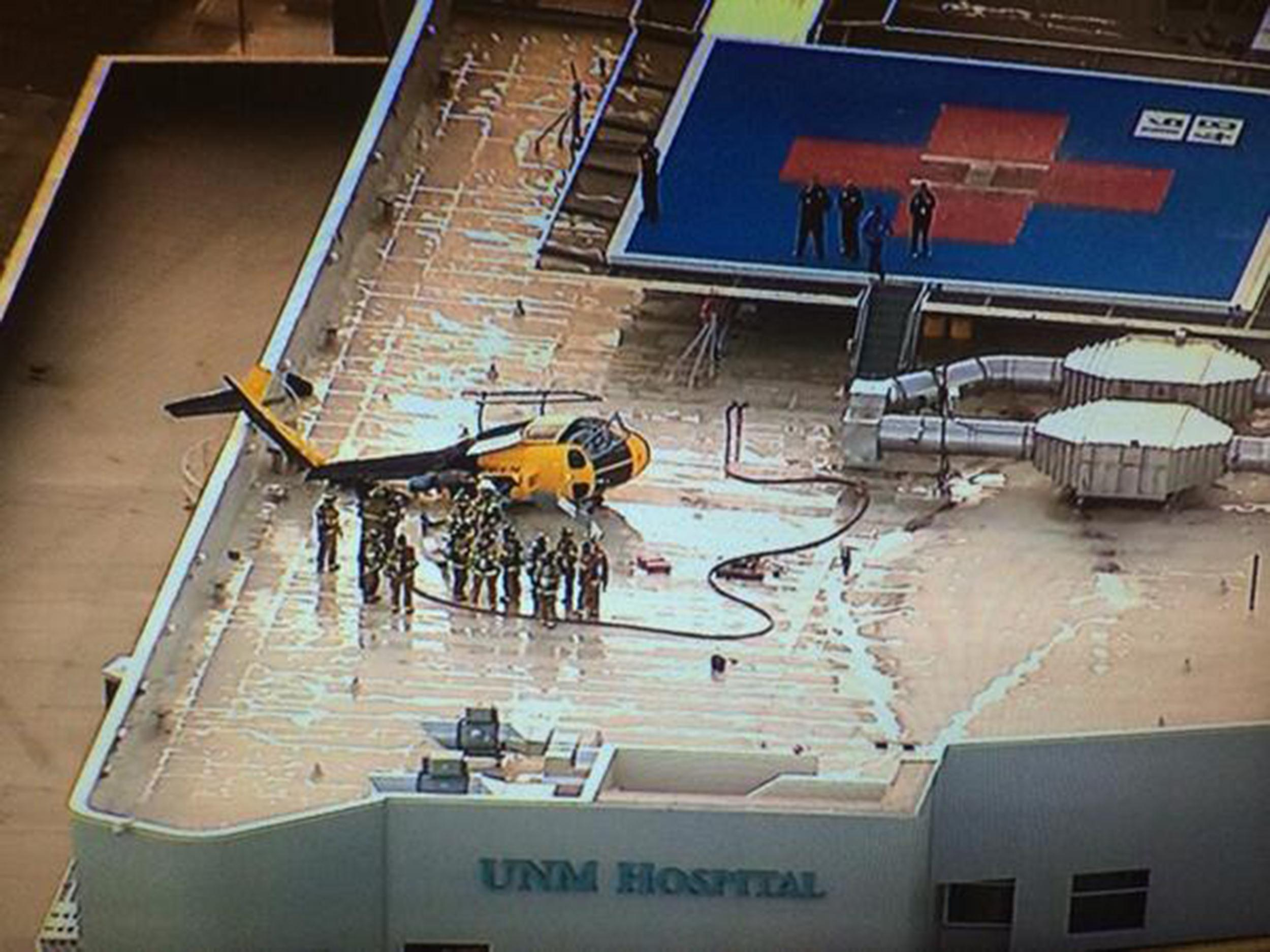Image: A helicopter crashed on the roof of University of New Mexico Hospital on Wednesday.