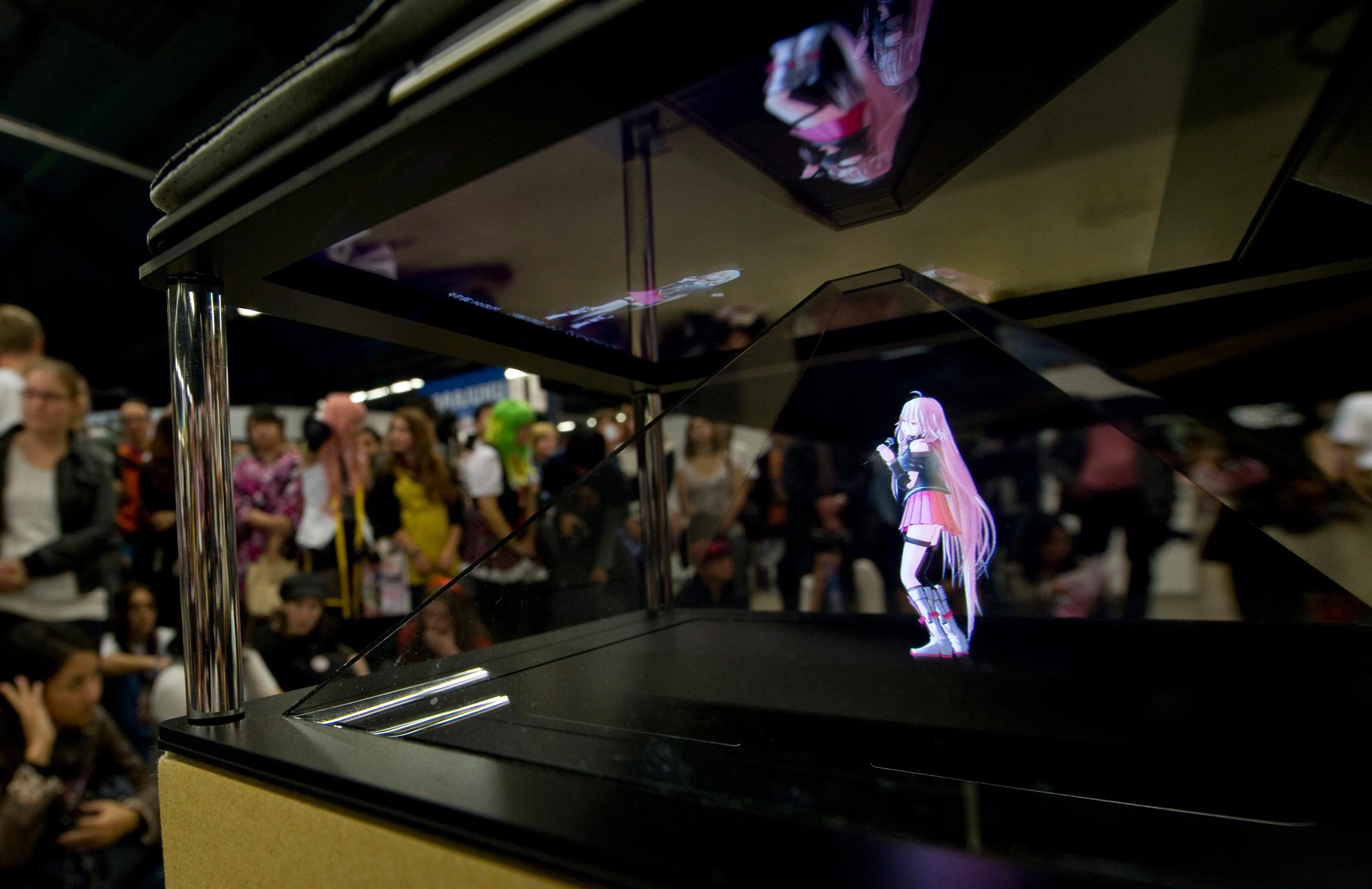 A hologram of Japanese singer Hatsune Miku performs during the Tokyo Crazy Kawaii event in Paris