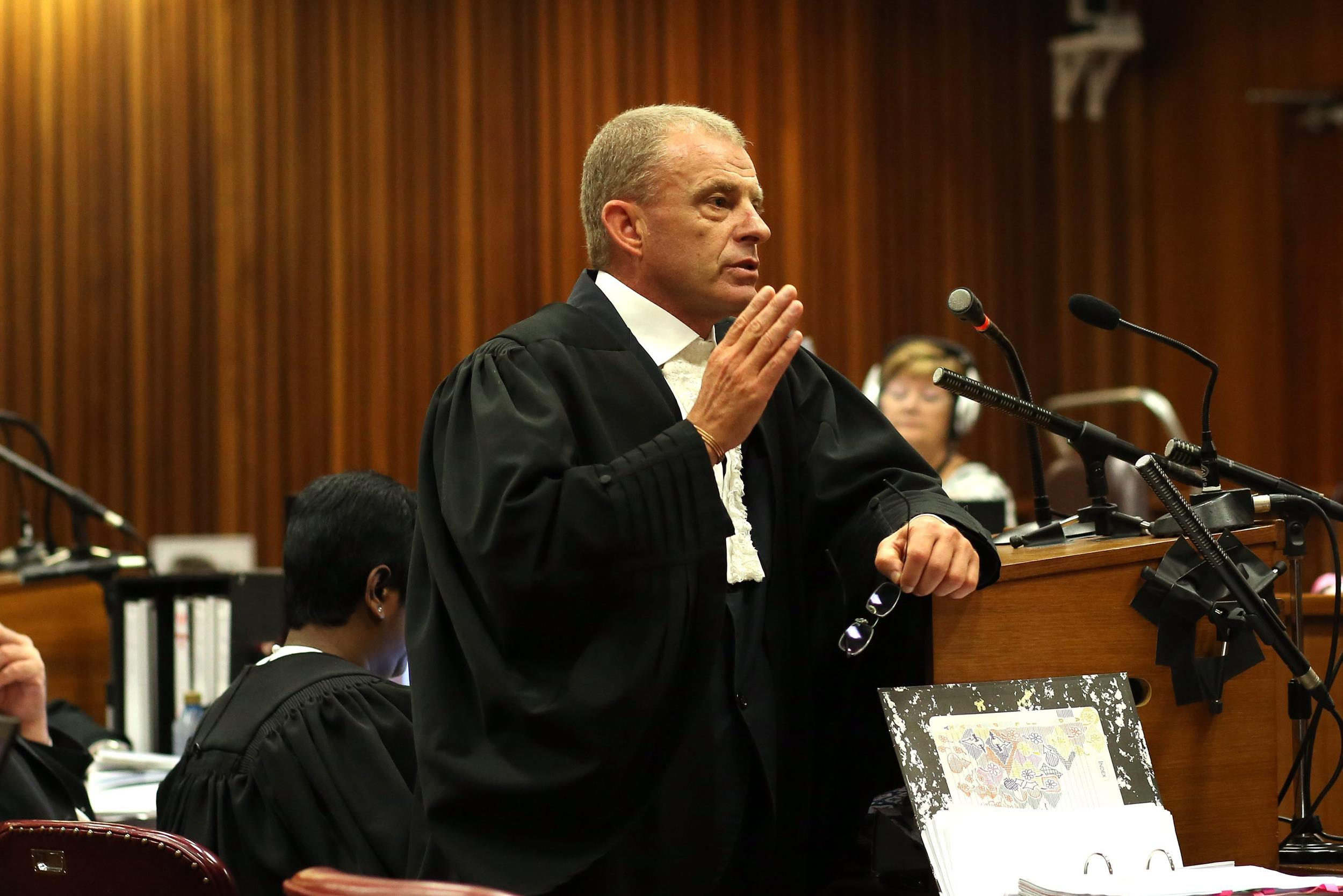 Image: State Prosecutor Gerrie Nel speaks during the Oscar Pistorius trial