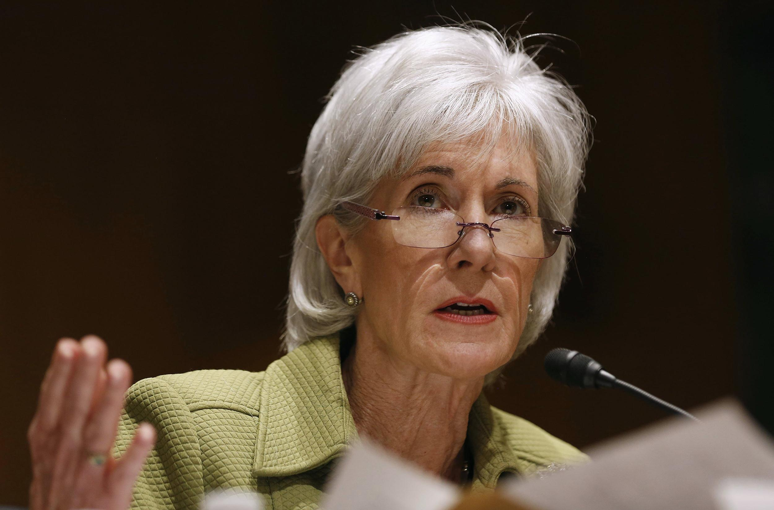 Image: U.S. Secretary of Health and Human Services Sebelius answers a question while she testifies before the Senate Finance Committee hearing on the President's budget proposal for FY2015, on Capitol Hill in Washington