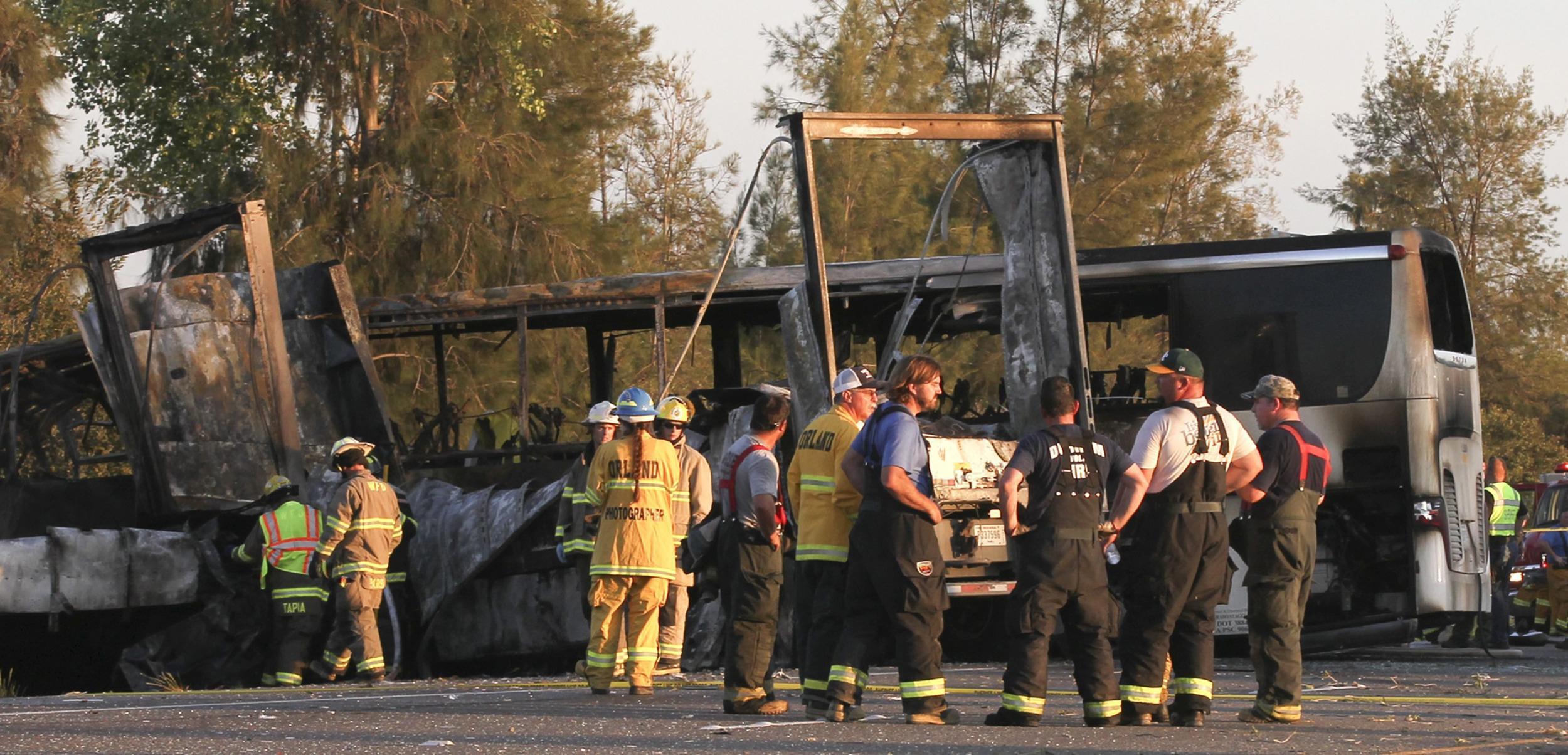 Image: Scene of crash between tractor-trailer and bus near Orland, Calif.