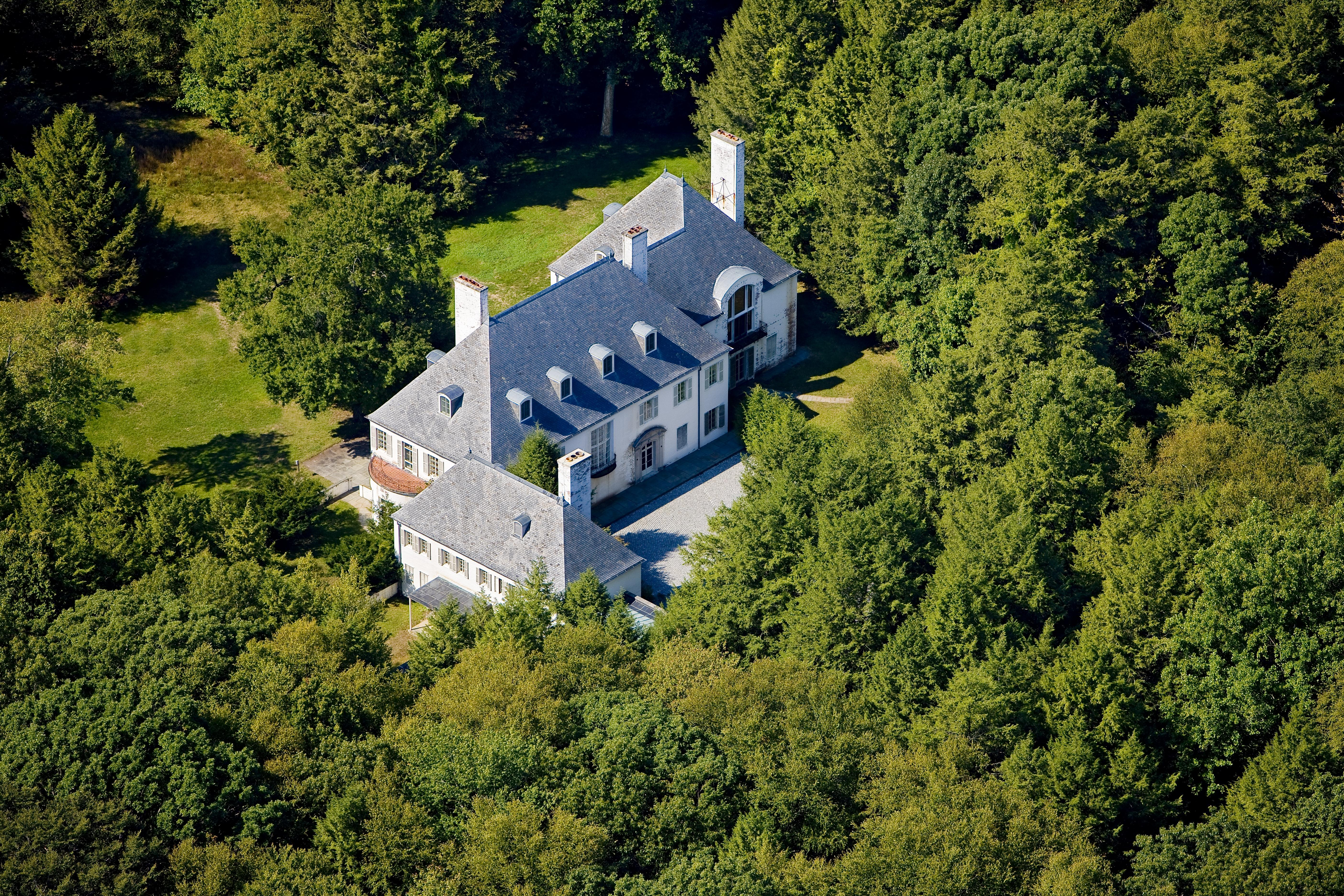 Aerial view of Le Beau Château, Huguette Clark's country retreat in New Canaan, Connecticut.