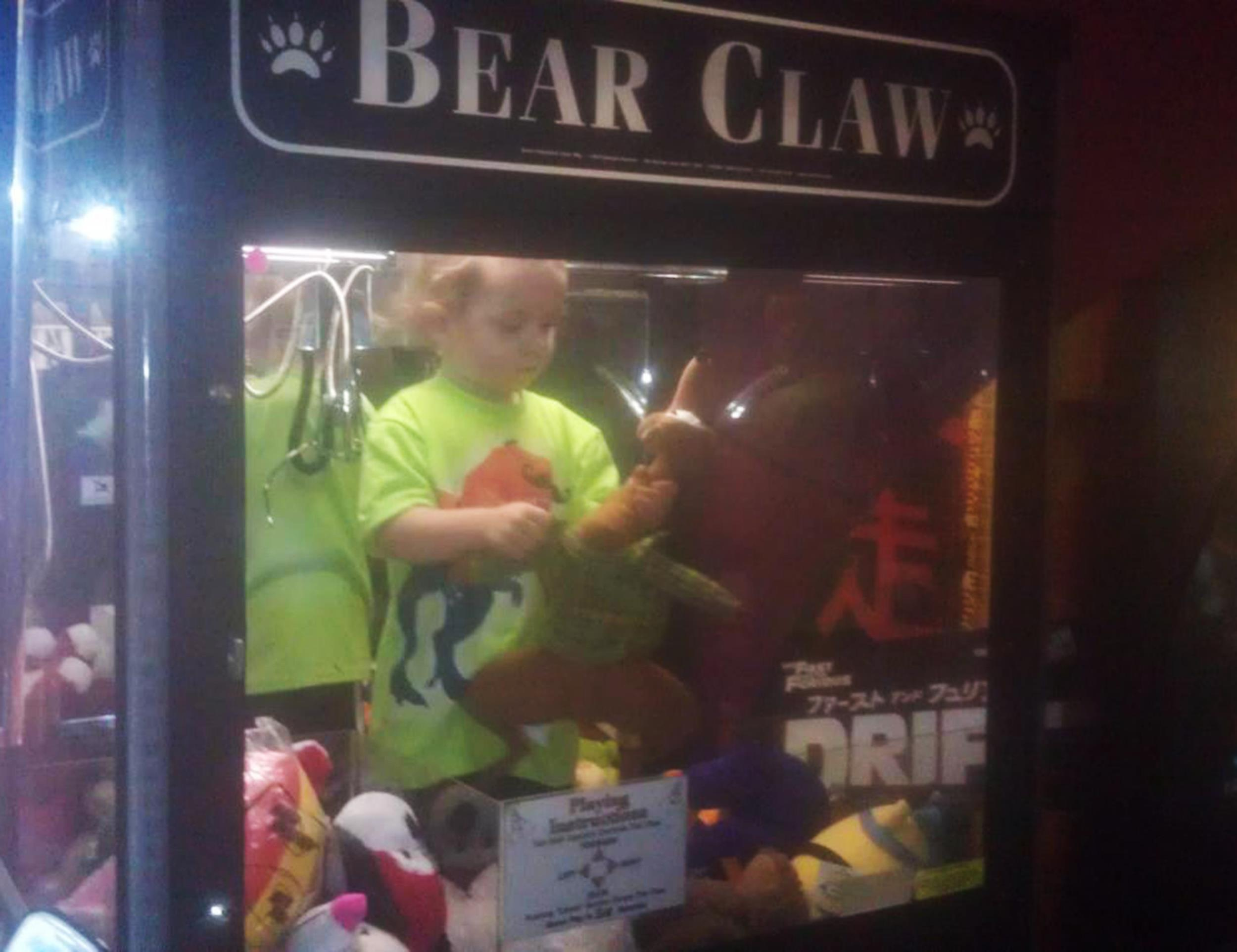 Image: A 3-year-old boy managed to crawl up into a claw machine in Lincoln, Neb.