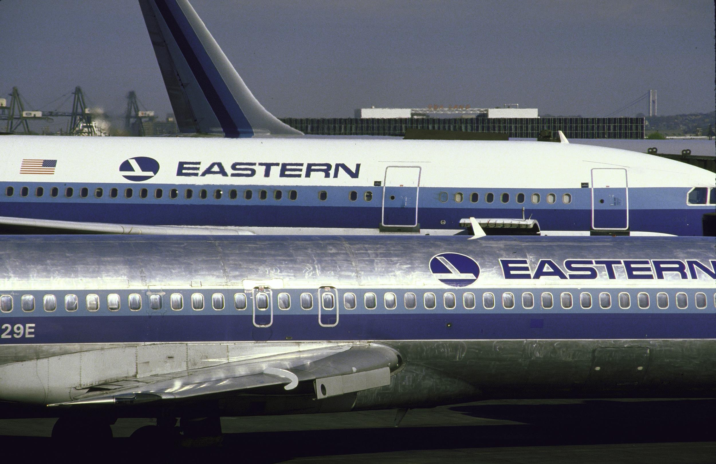 Eastern Airlines jets at Newark Airport in New Jersey in 1986.