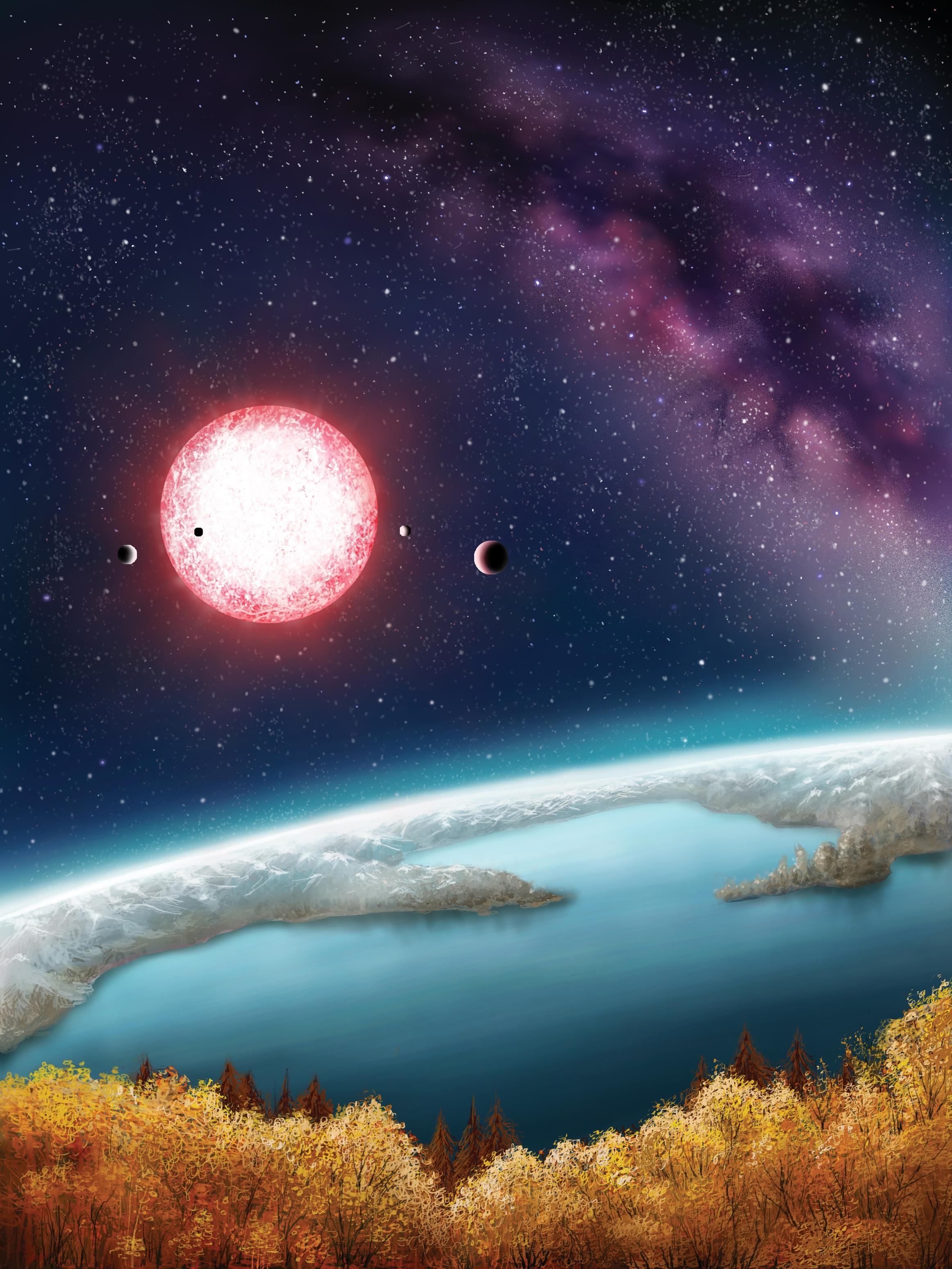 This artwork provides a speculative view of a landscape on Kepler-186f, an Earth-sized planet orbiting a faraway M-class dwarf star.