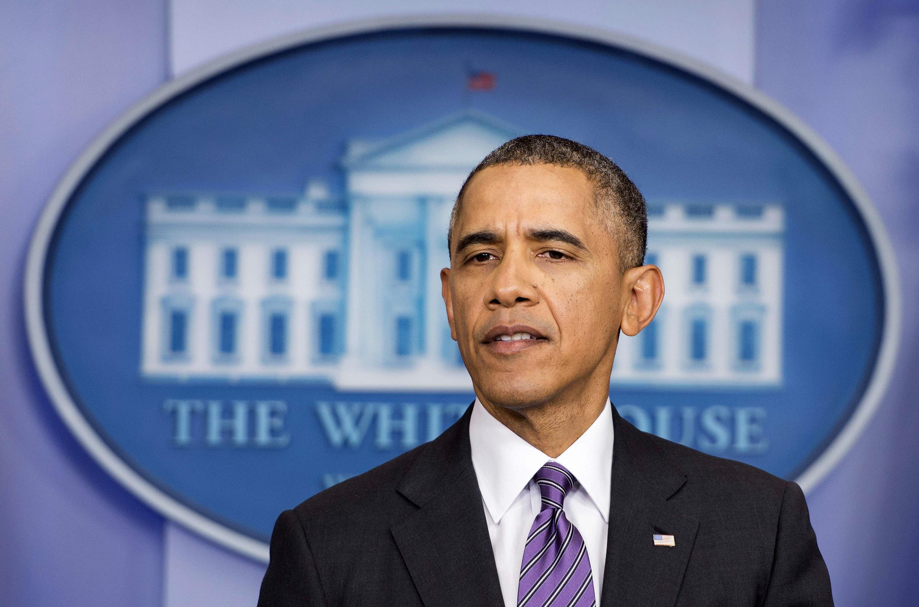 President Barack Obama delivers remarks from the Brady Press Room