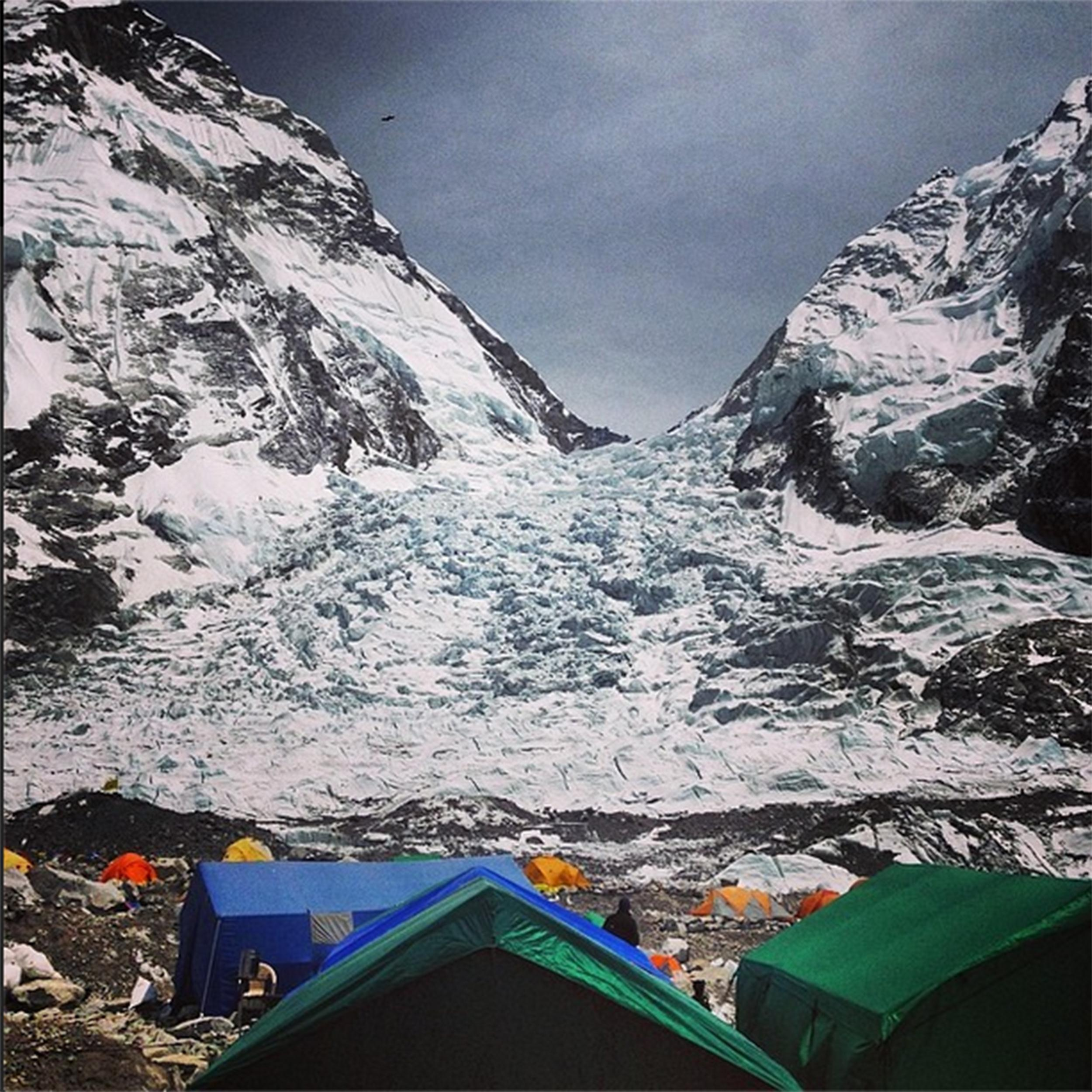 The icefall at Mount Everest where up to 13 Sherpas were reportedly killed in an avalanche