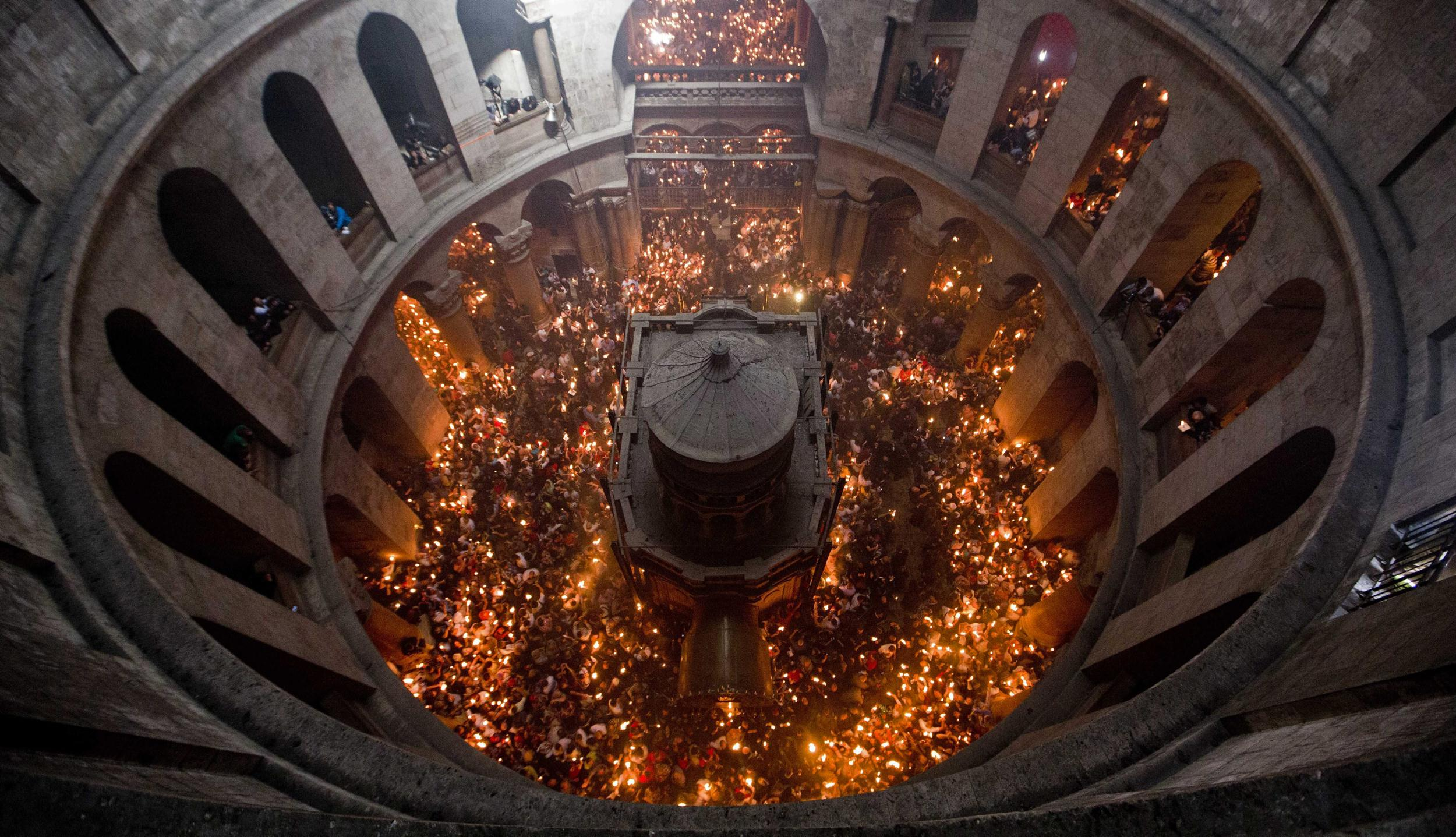 Image: Miracle of the Holy Fire in the Church of the Holy Sepulchre in Jerusalem the day before Easter