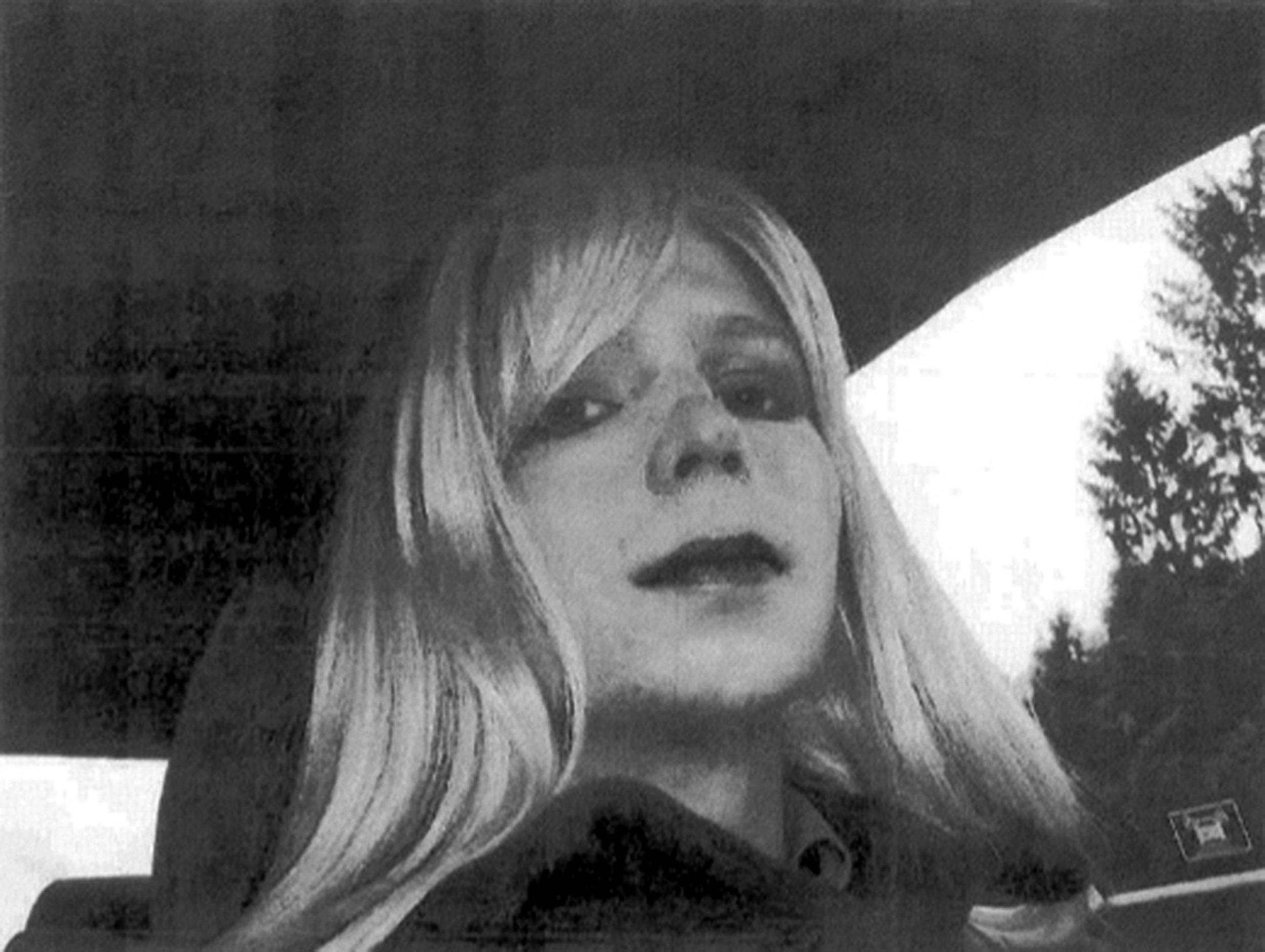 Image: Bradley Manning in wig and make-up.