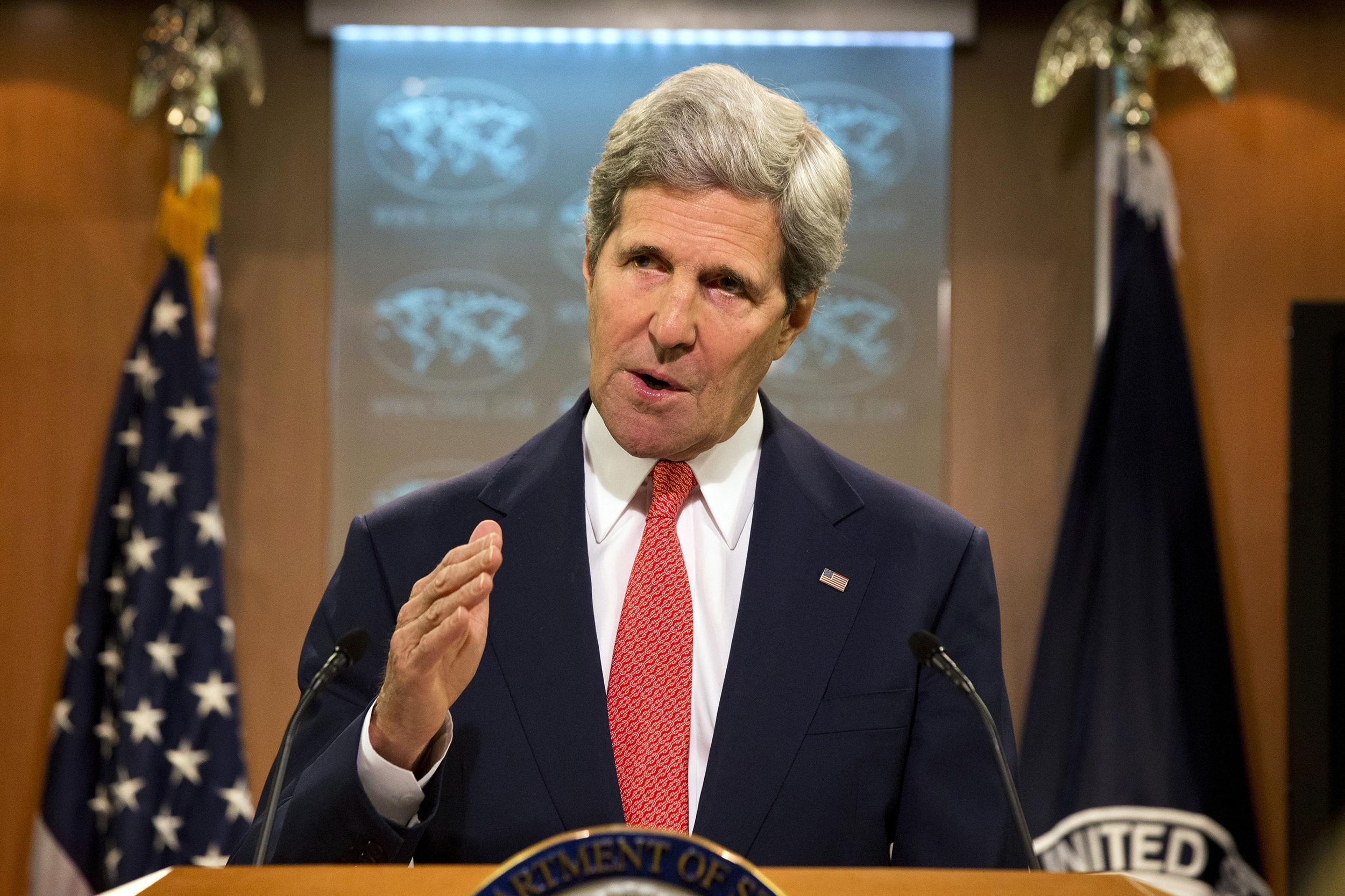 Image: Secretary of State John Kerry speaks about the situation with Ukraine and Russia