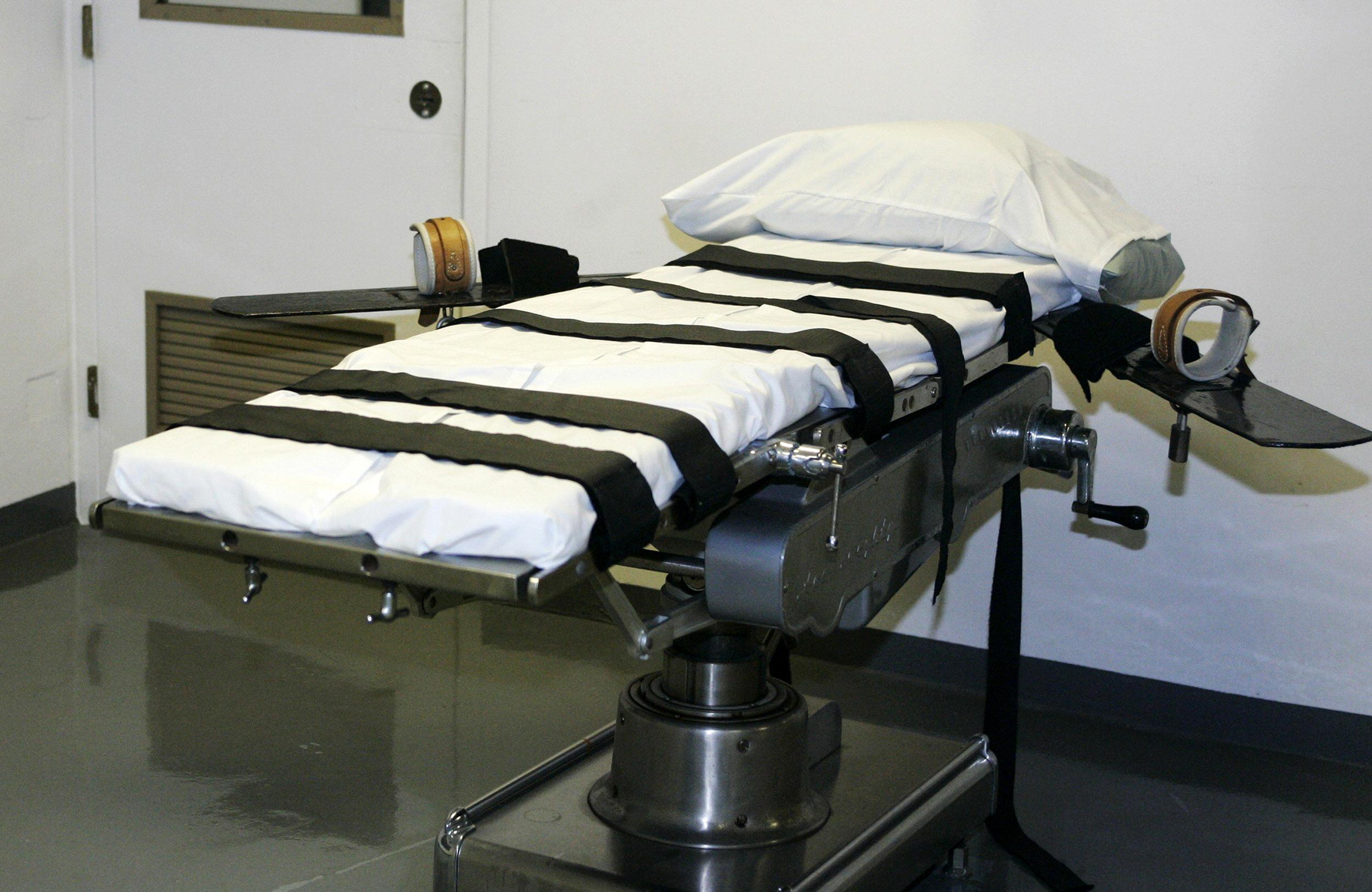Image:  The gurney in the execution chamber at the Oklahoma State Penitentiary in McAlester, Okla.