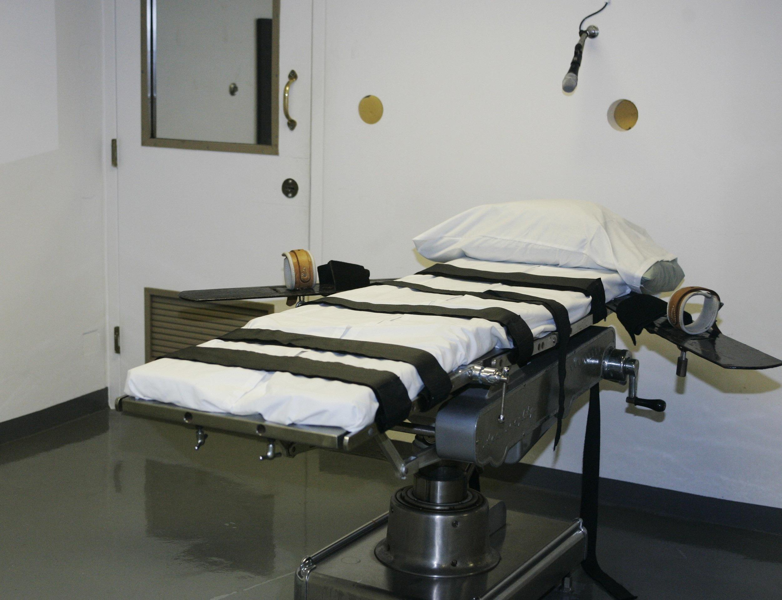 Image:  The gurney in the execution chamber at the Oklahoma State Penitentiary is pictured in McAlester, Okla.