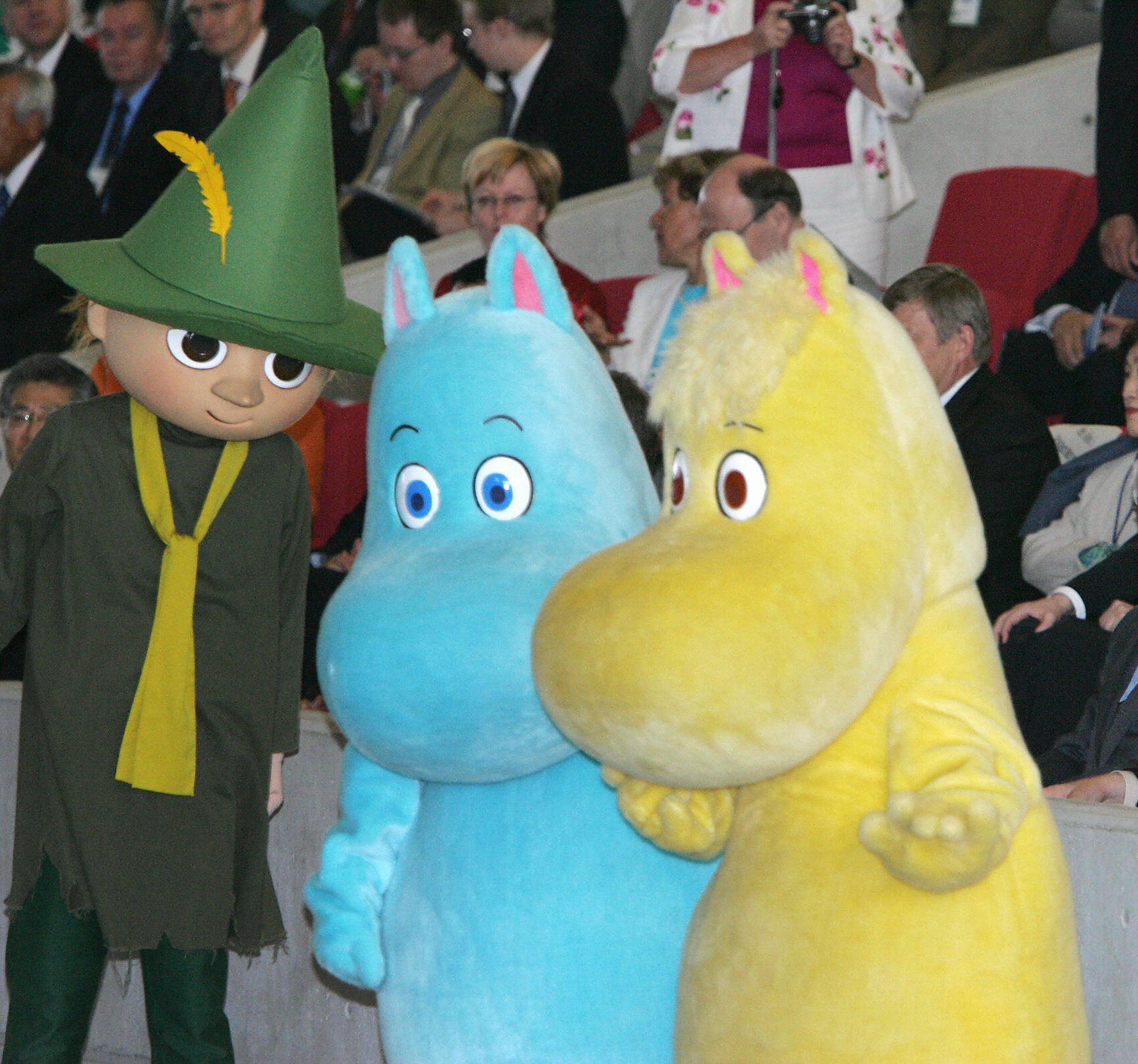 Image: Stuffed toys Moomin, the famous Finnish cartoon characters.