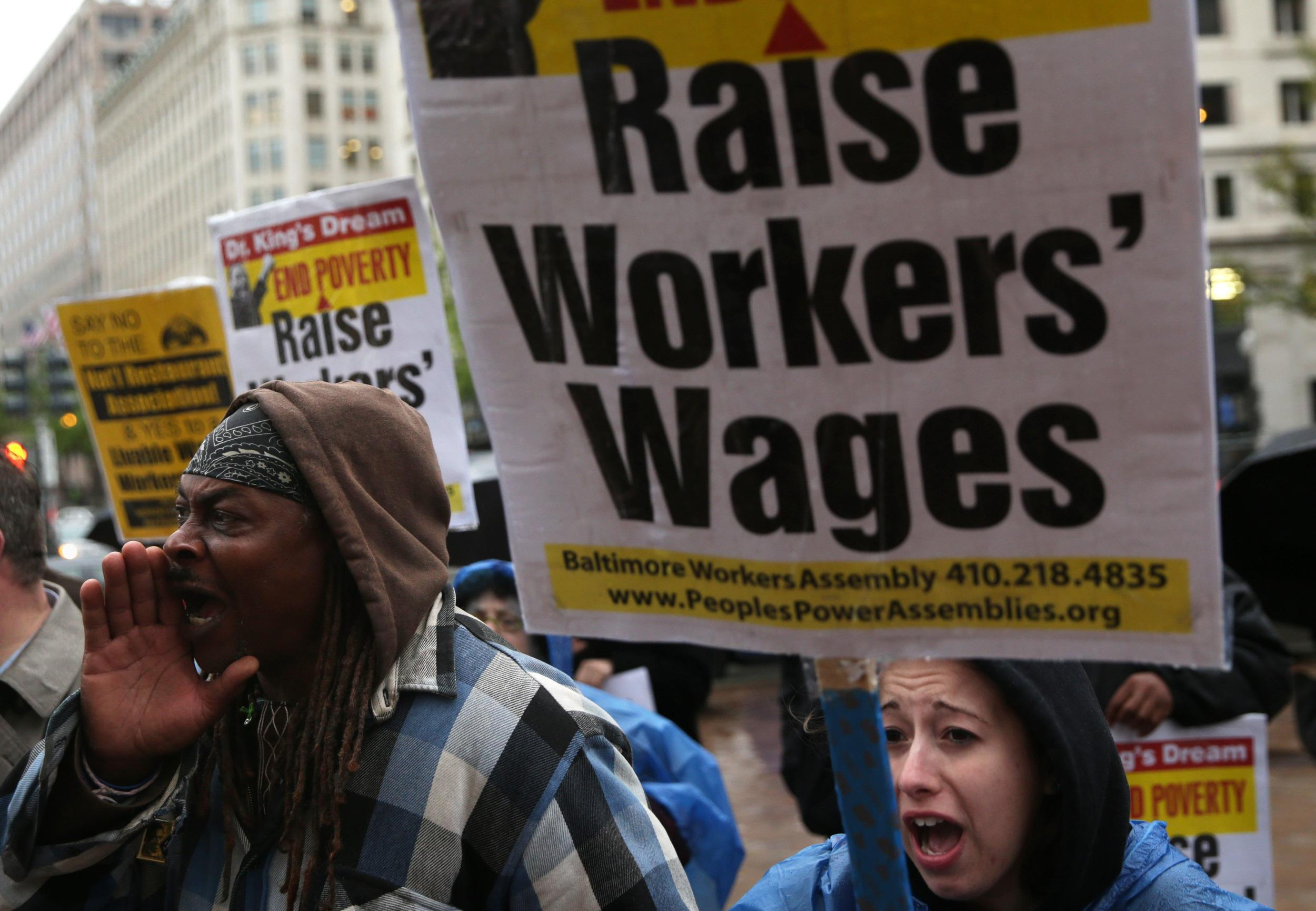 Image: Activists Hold Protest In Favor Of Raising Minimum Wage