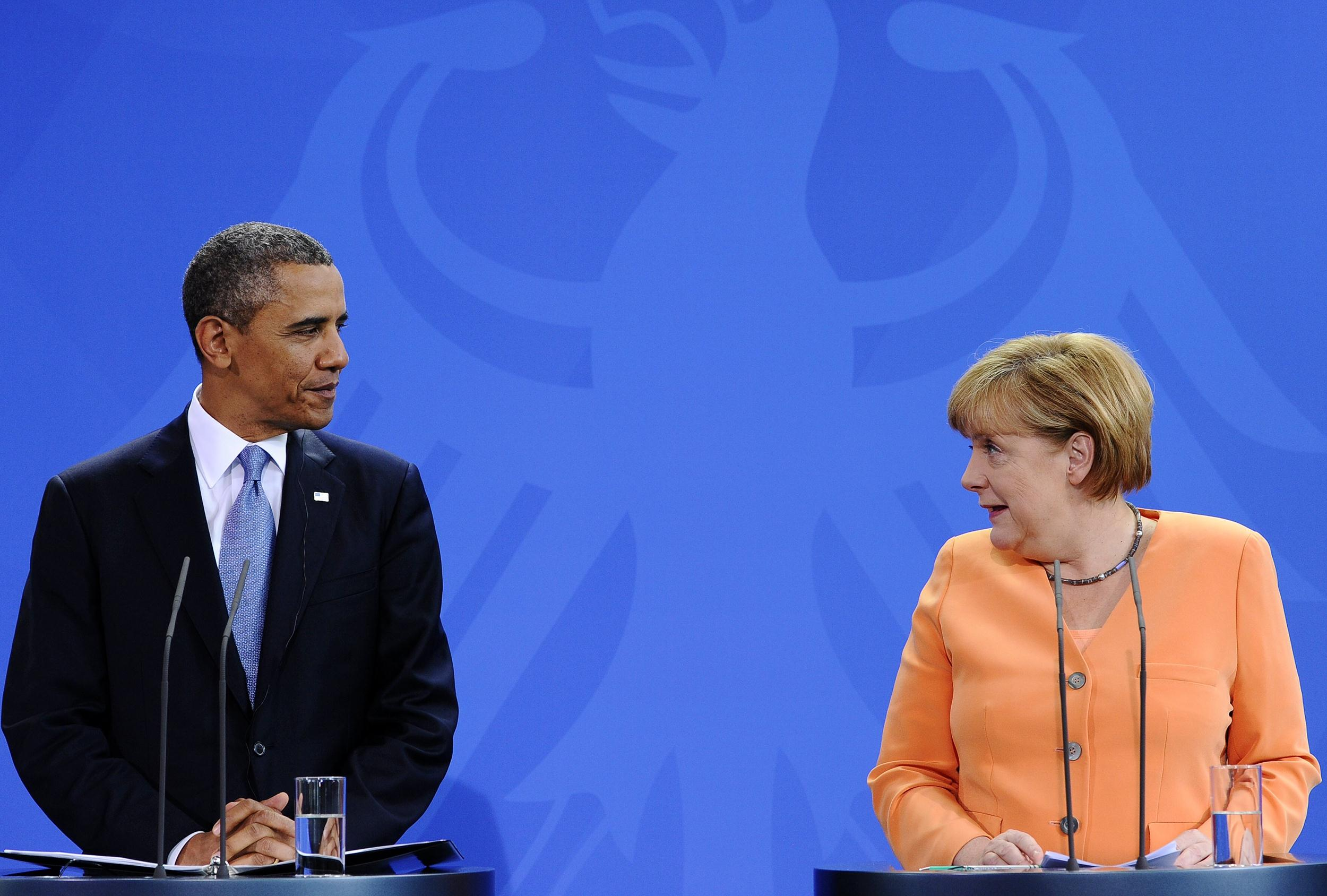 Image: U.S. President Barack Obama and German Chancellor Angela Merkel hold a joint press conference following their bilateral meeting