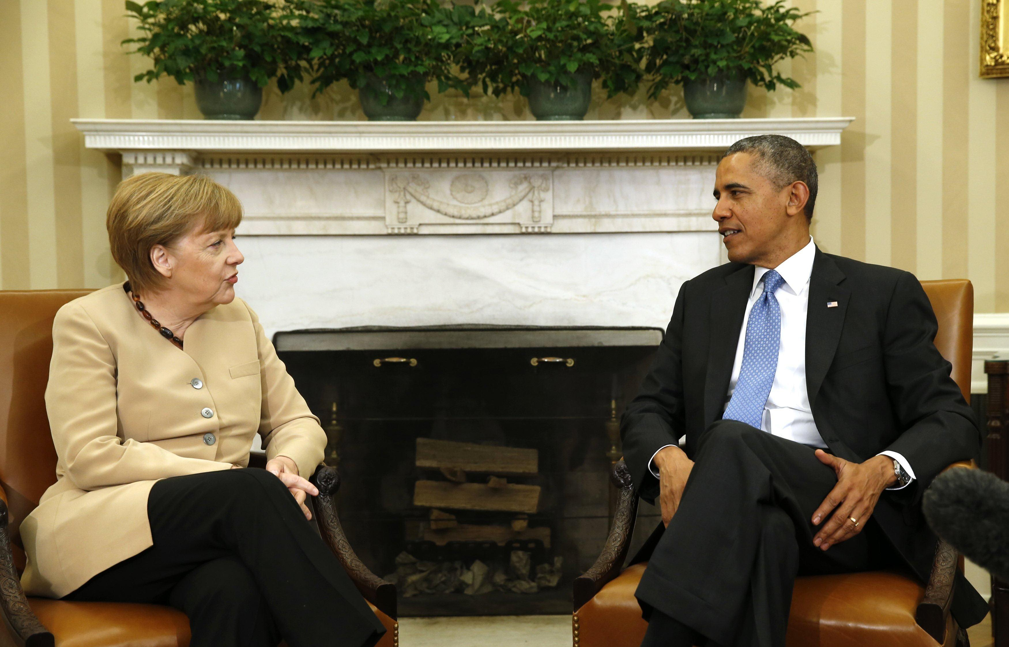 Image: U.S. President Obama meets with German Chancellor Merkel to discuss the Ukraine crisis at the White House