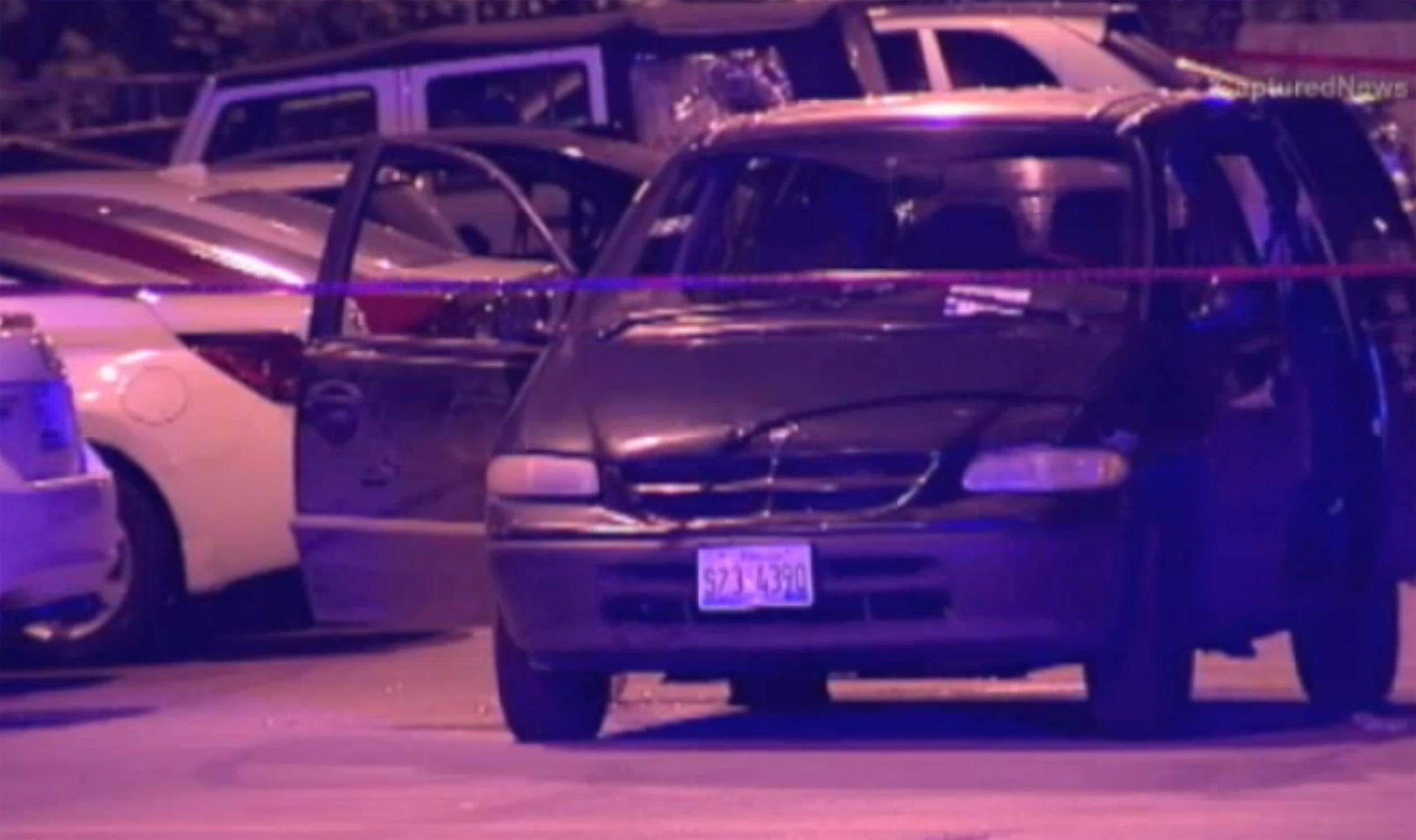 Image: A damaged van was involved in a shooting in Chicago over the weekend.