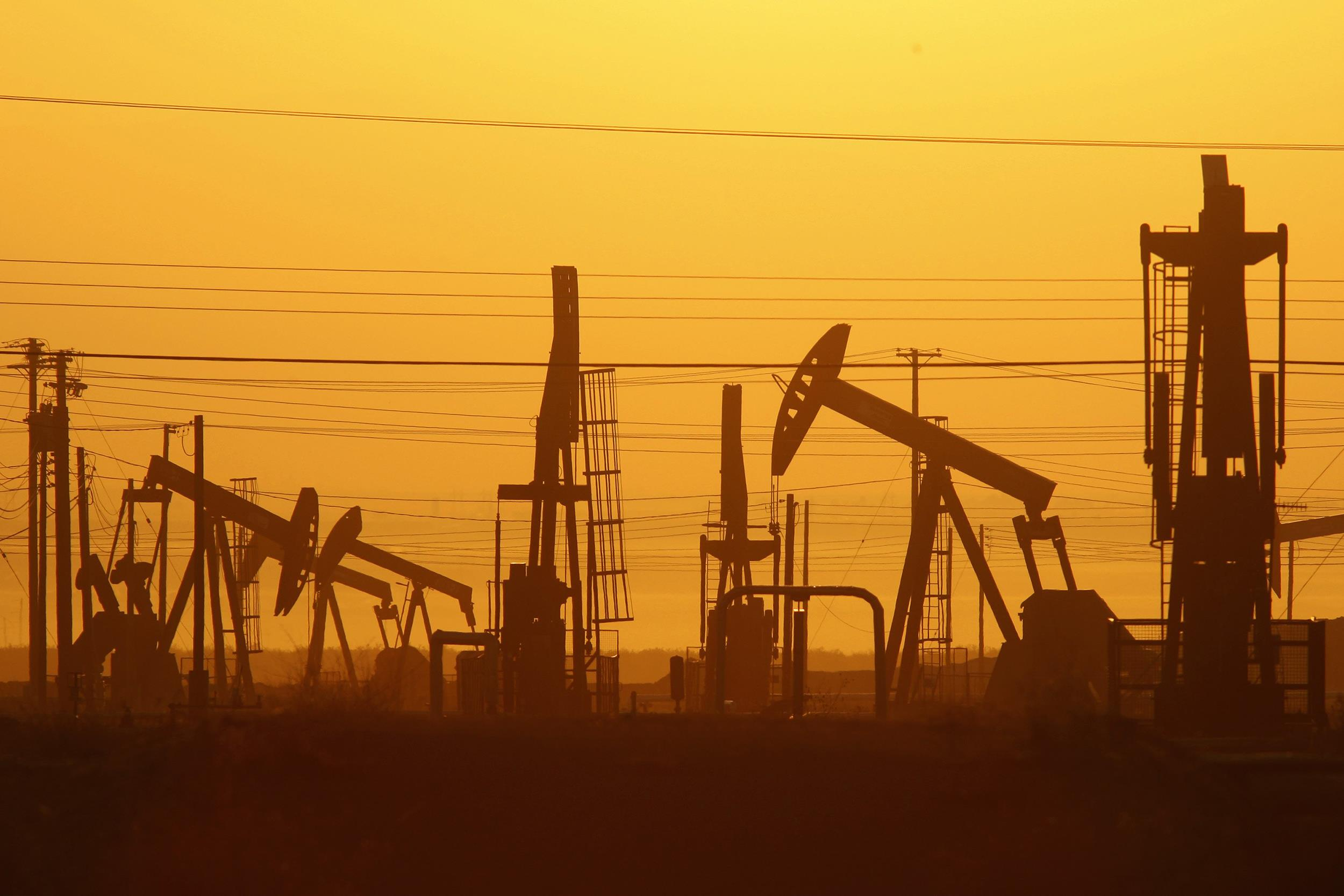Image: Pump jacks are seen at dawn in an oil field over the Monterey Shale formation where gas and oil extraction using hydraulic fracturing, or fracking, is on the verge of a boom
