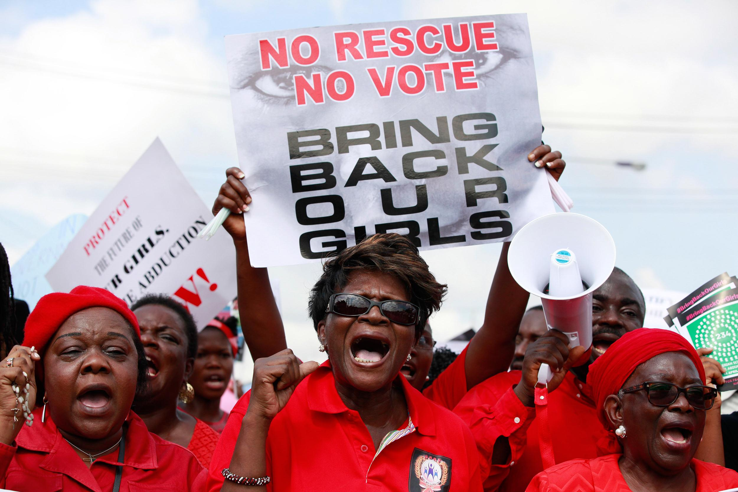 Image: Women call on government to rescue kidnapped school girls of a government secondary school Chibok, in Lagos, Nigeria