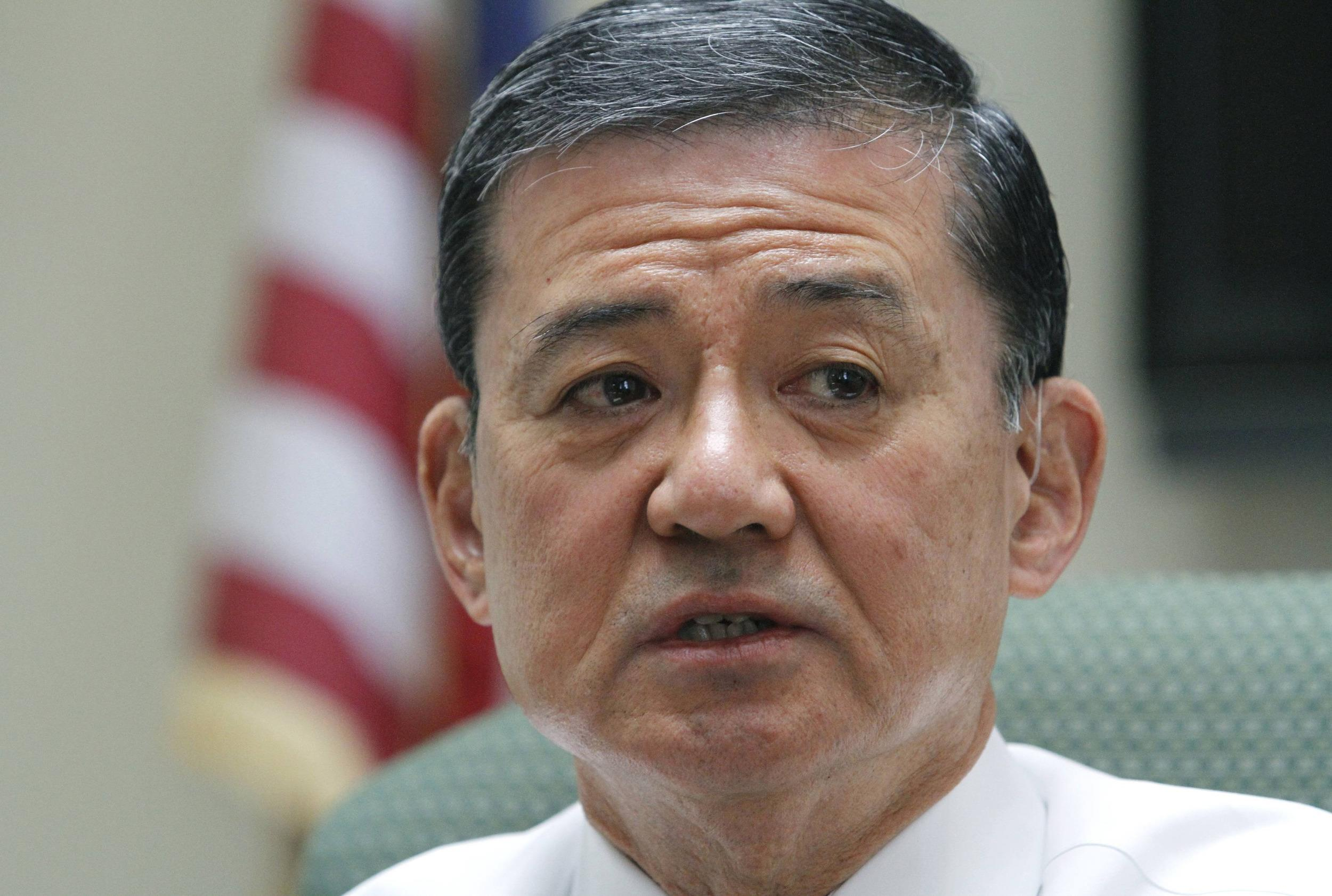 Image: File photo of U.S. Veterans Affairs Secretary Shinseki speaking during a visit to the VA Medical Center in Coatesville