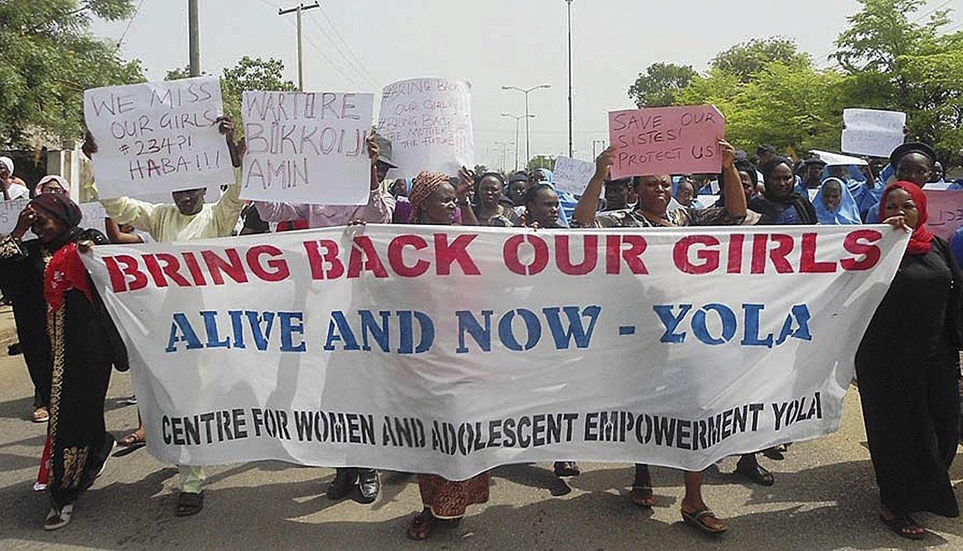 Image: Abducted girls protest in Yola
