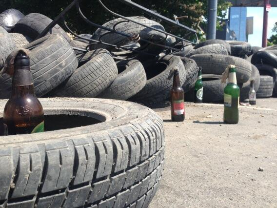 Molotov bottles at the ready behind the barricades in Mariupol.