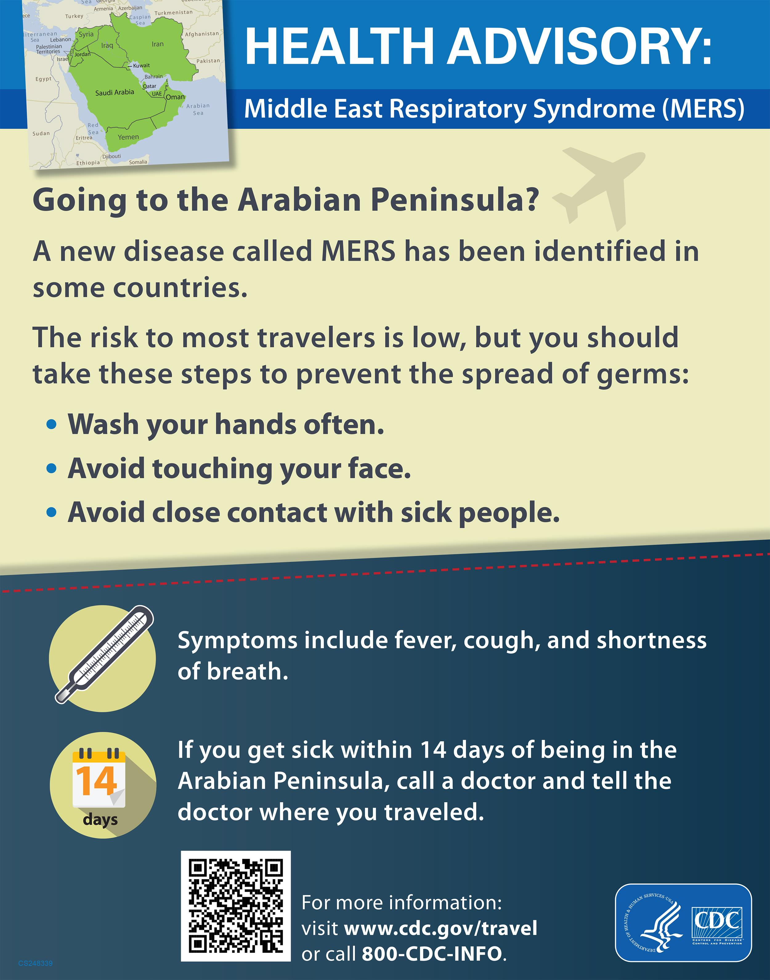 Image: A health advisory from the CDC regarding MERS