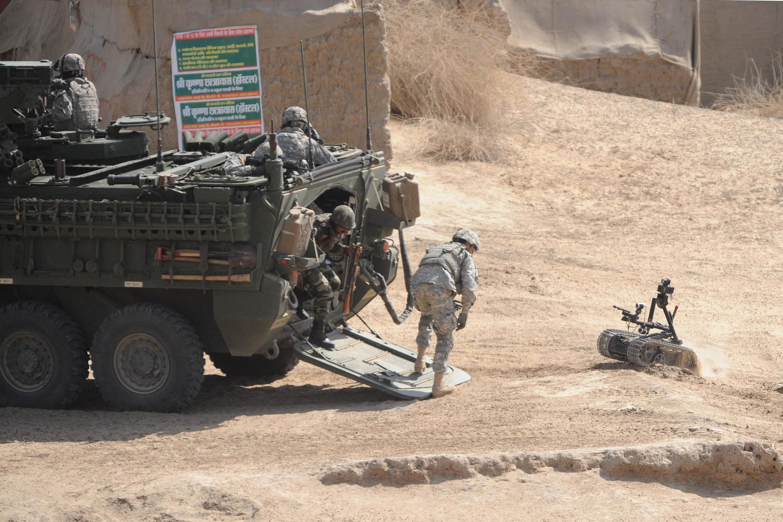 Us soldiers deploy an explosives ordinan