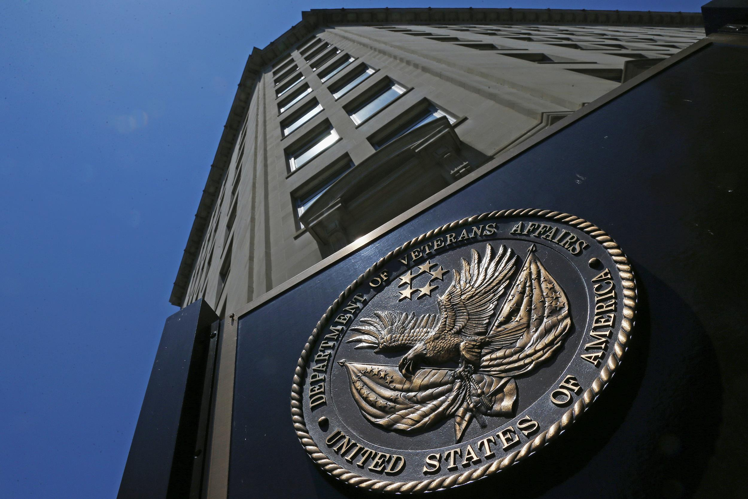 Image: The seal a fixed to the front of the Department of Veterans Affairs building in Washington