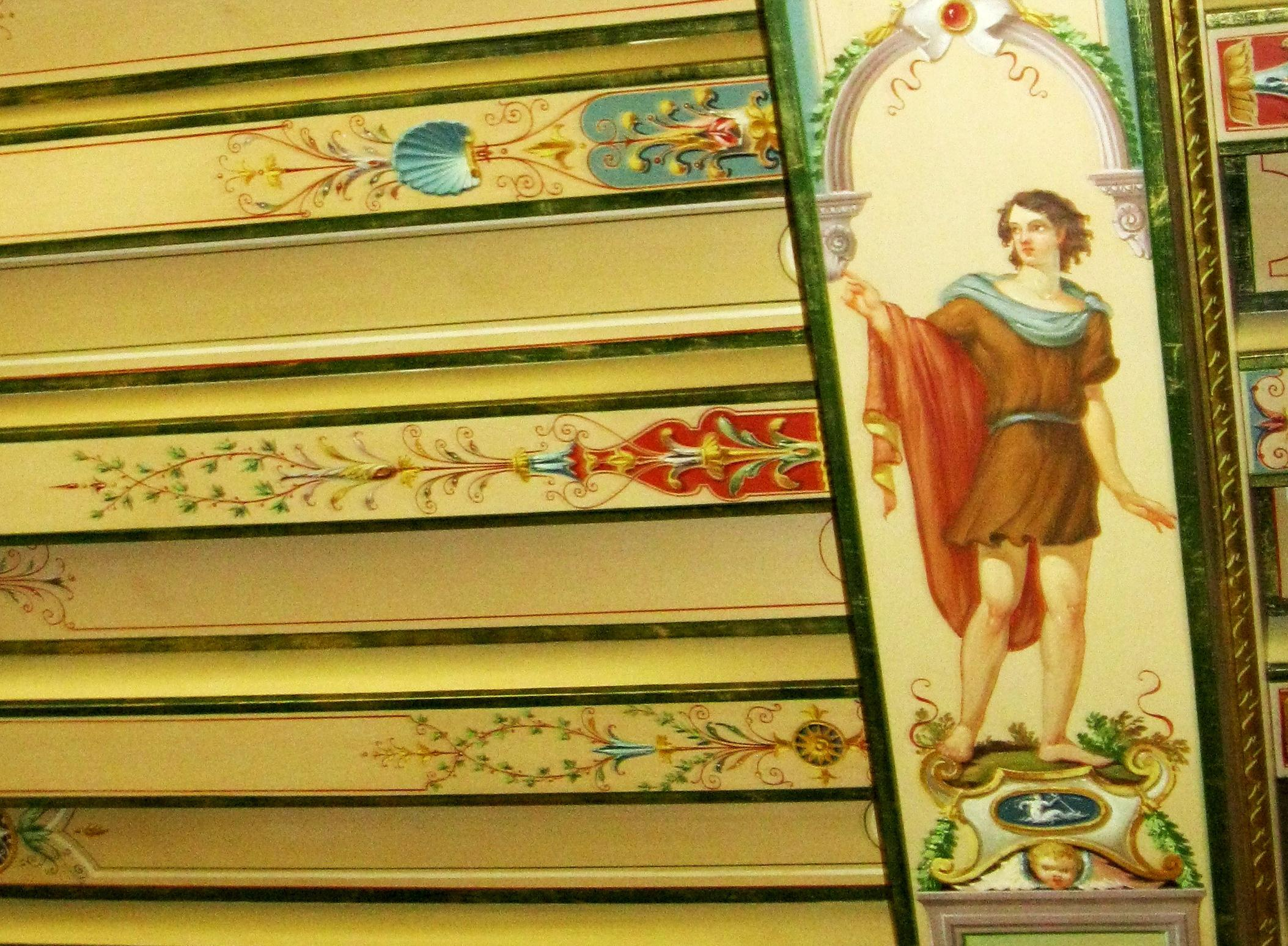 Image: Detail of a painted canvas ceiling in Bellosguardo