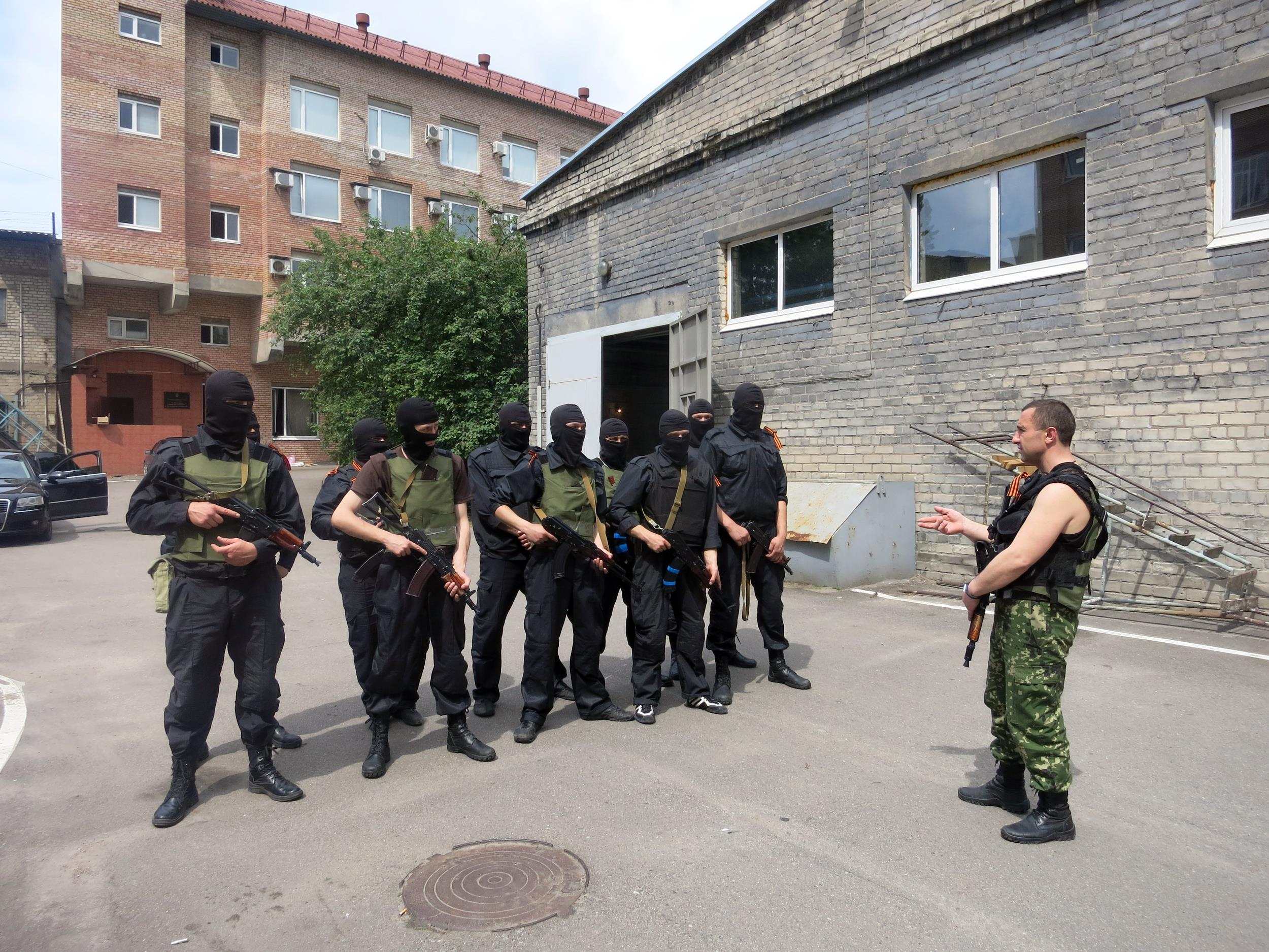 Members of the Russian Orthodox Army training in Donetsk, eastern Ukraine.
