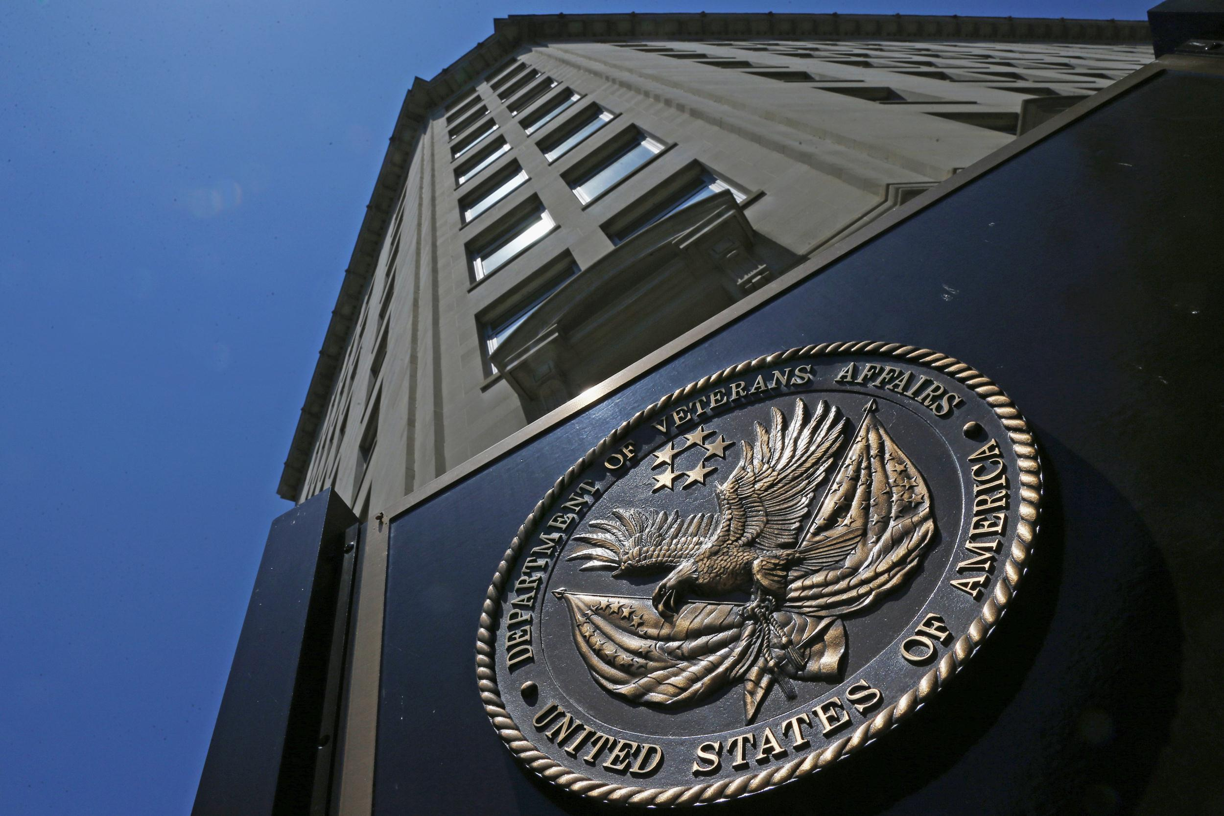 Image: The seal of the Department of Veterans Affairs building in Washington