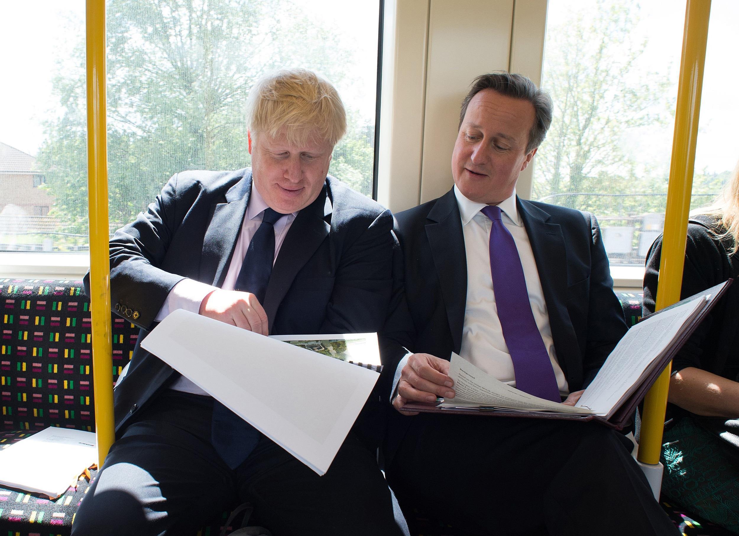 Image: Mayor of London Boris Johnson and British Prime Minister David Cameron on May 12