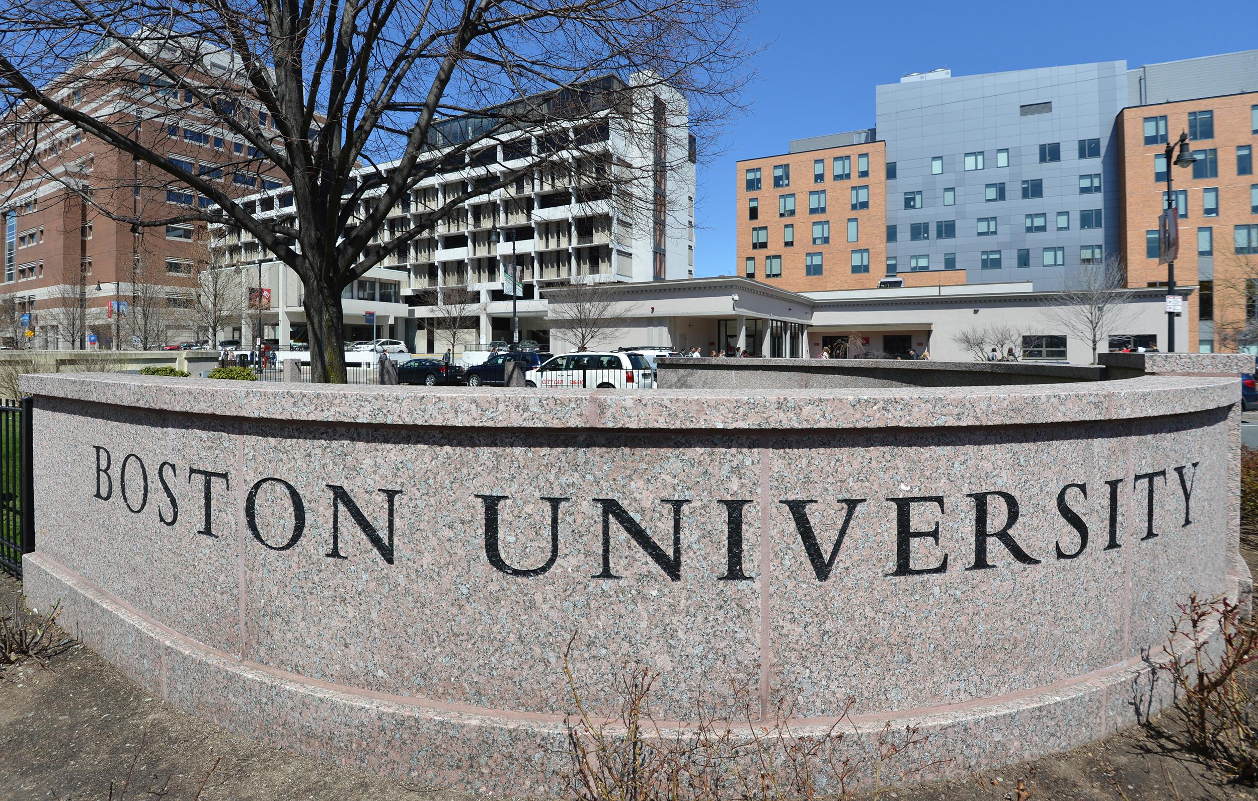Image: A sign at the entrance at Boston University in April 2013 in Boston.