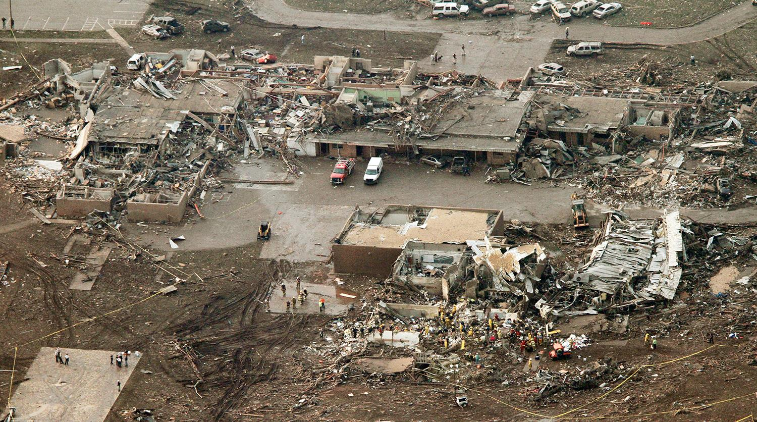 Image: This aerial photo shows damage to the Plaza Towers Elementary School after massive tornado