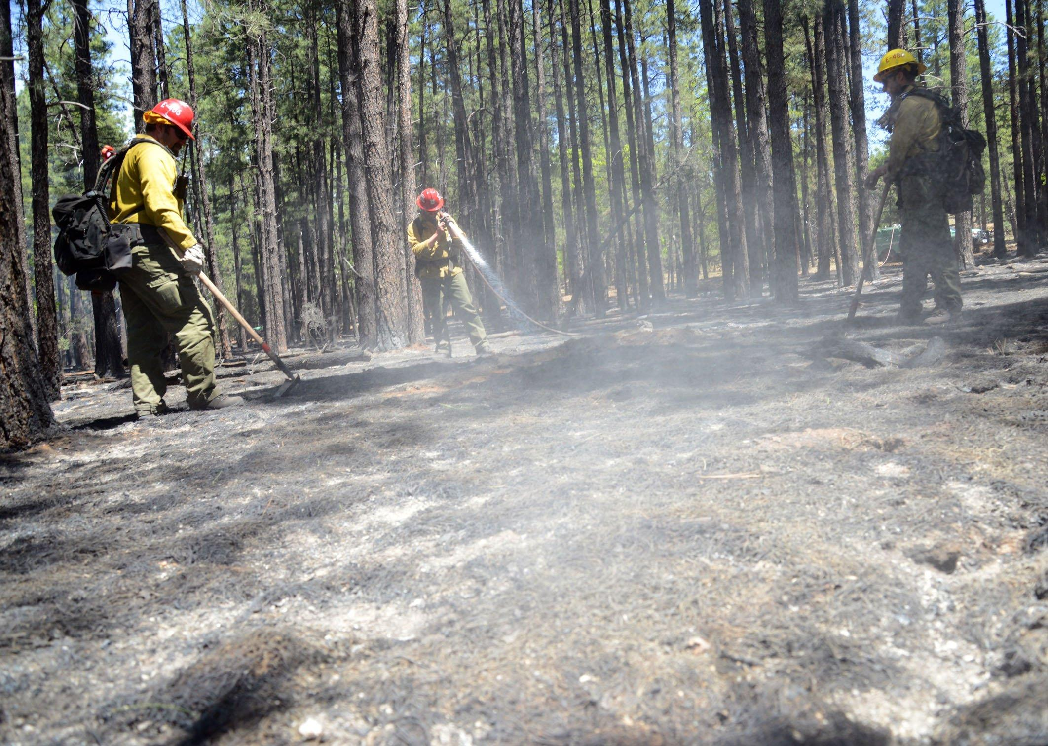 Image: Crews work hotspots near Sedona, Arizona, on Thursday