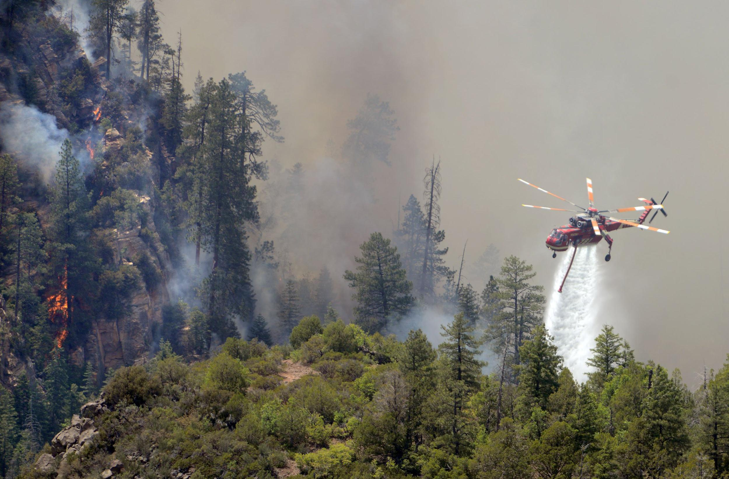 Image: A firefighting helicopter drops water on a forest fire in Oak Creak Canyon in Sedona, Ariz
