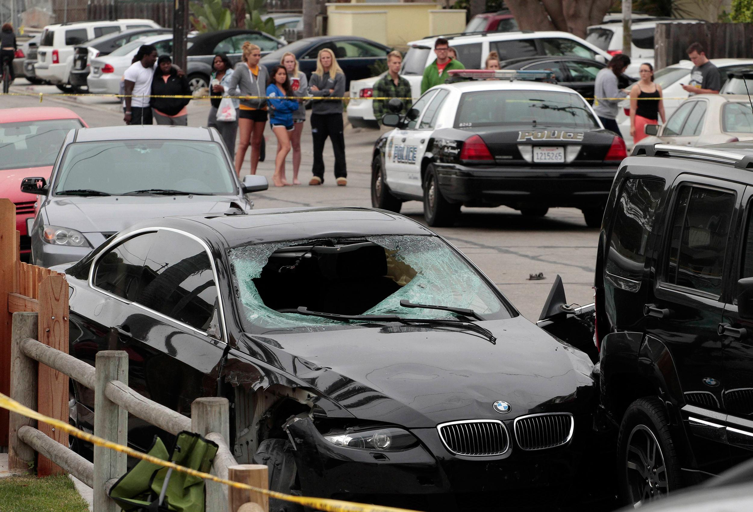 Image: The vehicle of the alleged shooter is pictured at one of the crime scenes after a series of drive-by shootings in the Isla Vista section of Santa Barbara