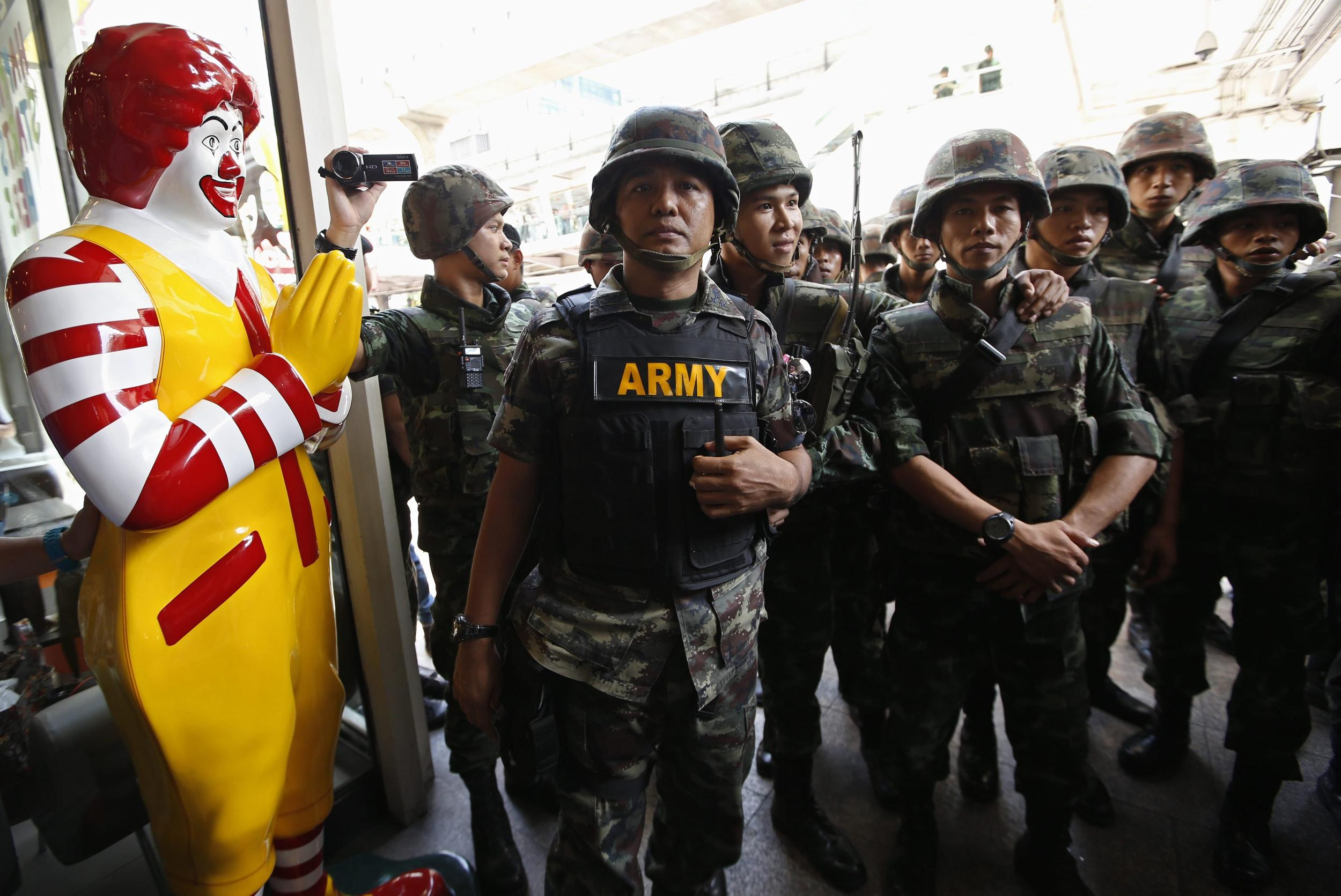 McDonald's famous golden arches have become part of the iconography of anti-coup protests in Thailand.
