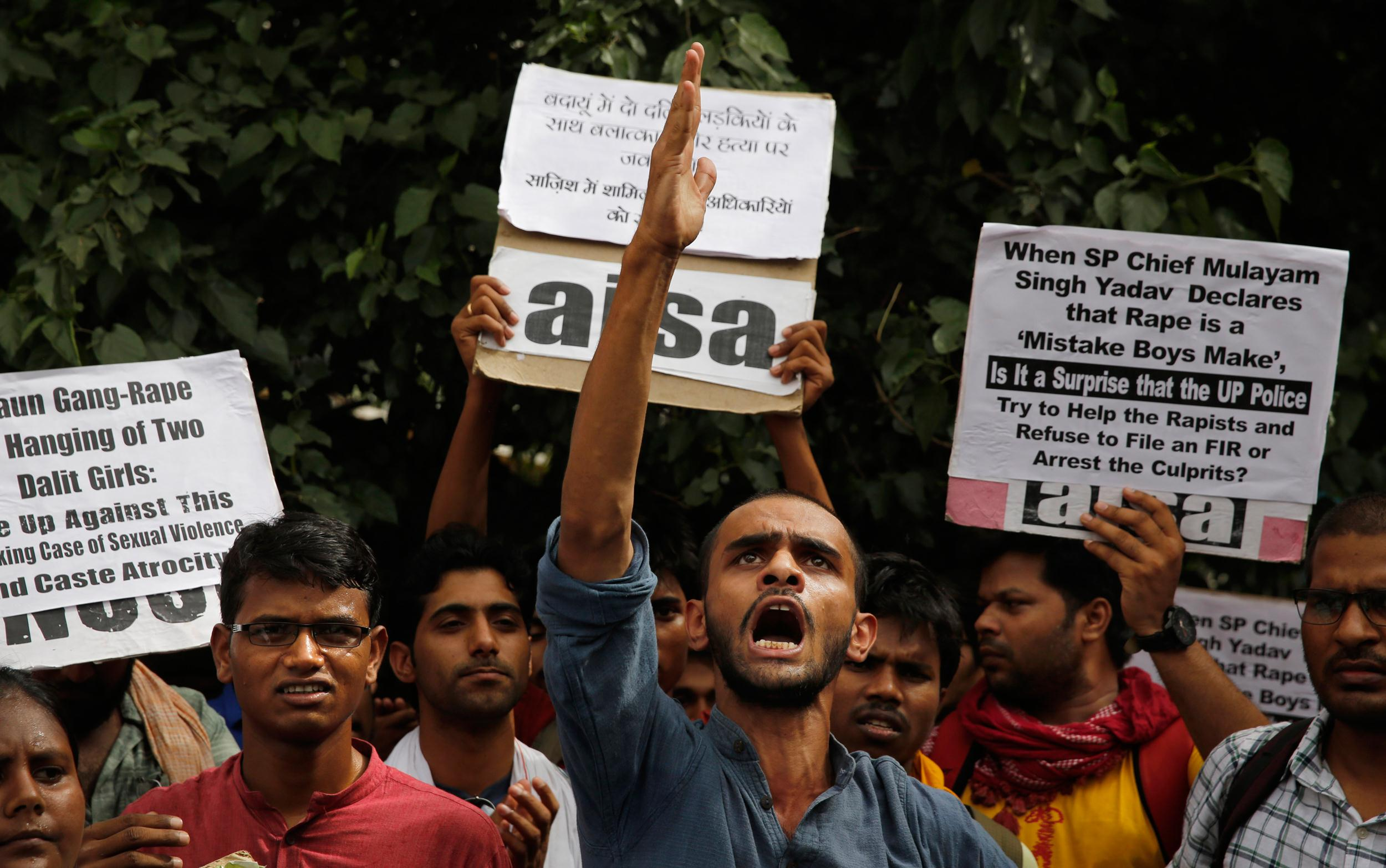 Image: A protest against a gang rape of two teenage girls in India