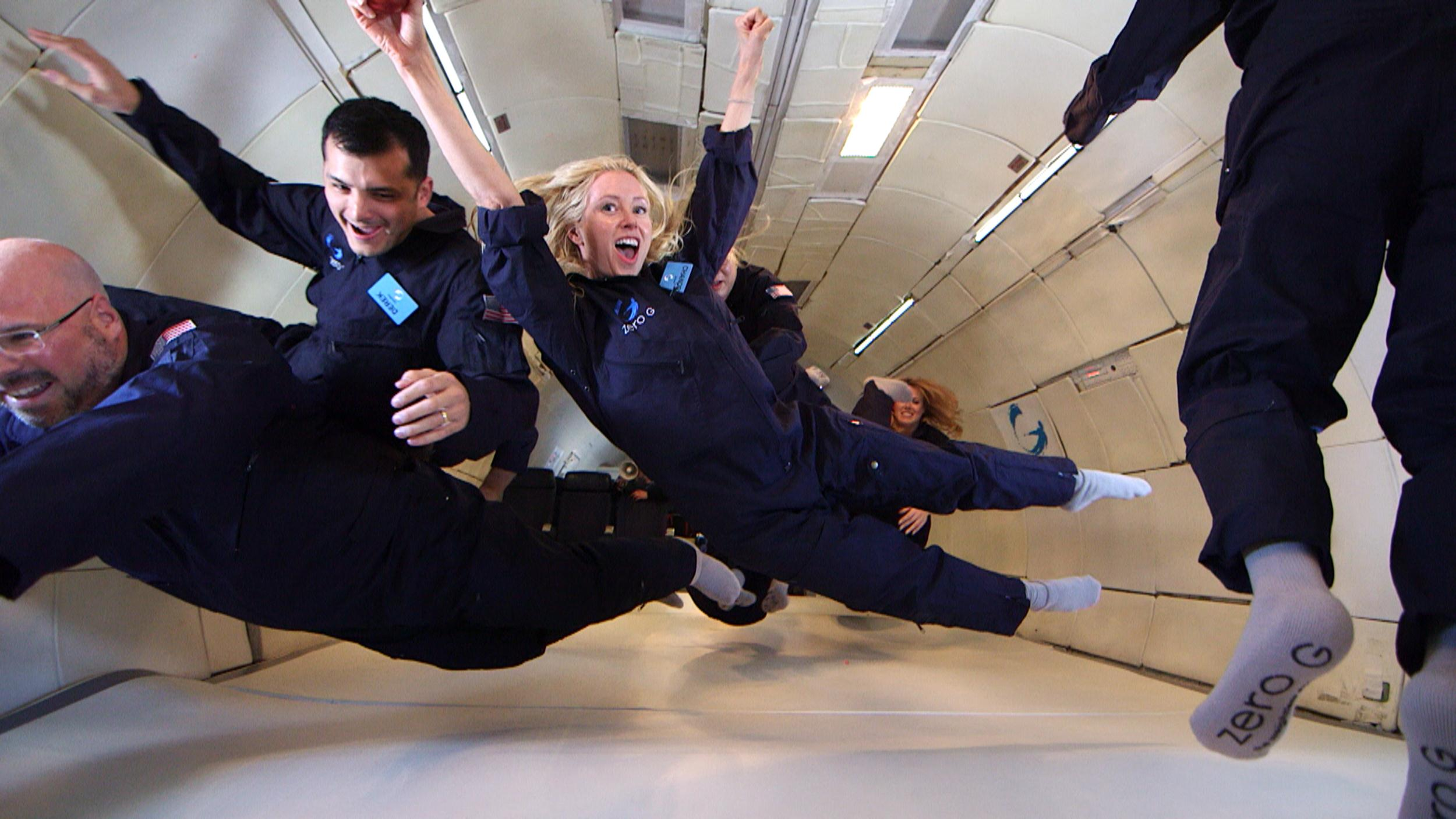 Image: Virgin Galactic customers take a trip on Zero-G to get a taste of  weightless experience in advance of their sub-orbital rocket ride on SpaceshipTwo.
