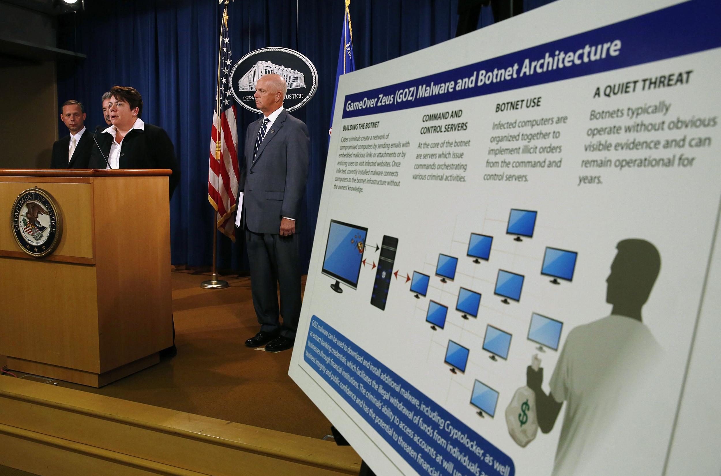 Image: U.S. Assistant Attorney General Caldwell of the Justice Department's Criminal Division announces criminal charges and two global cyber fraud disruptions, Gameover Zeus and Cyrptolocker, at the Department of Justice in Washington
