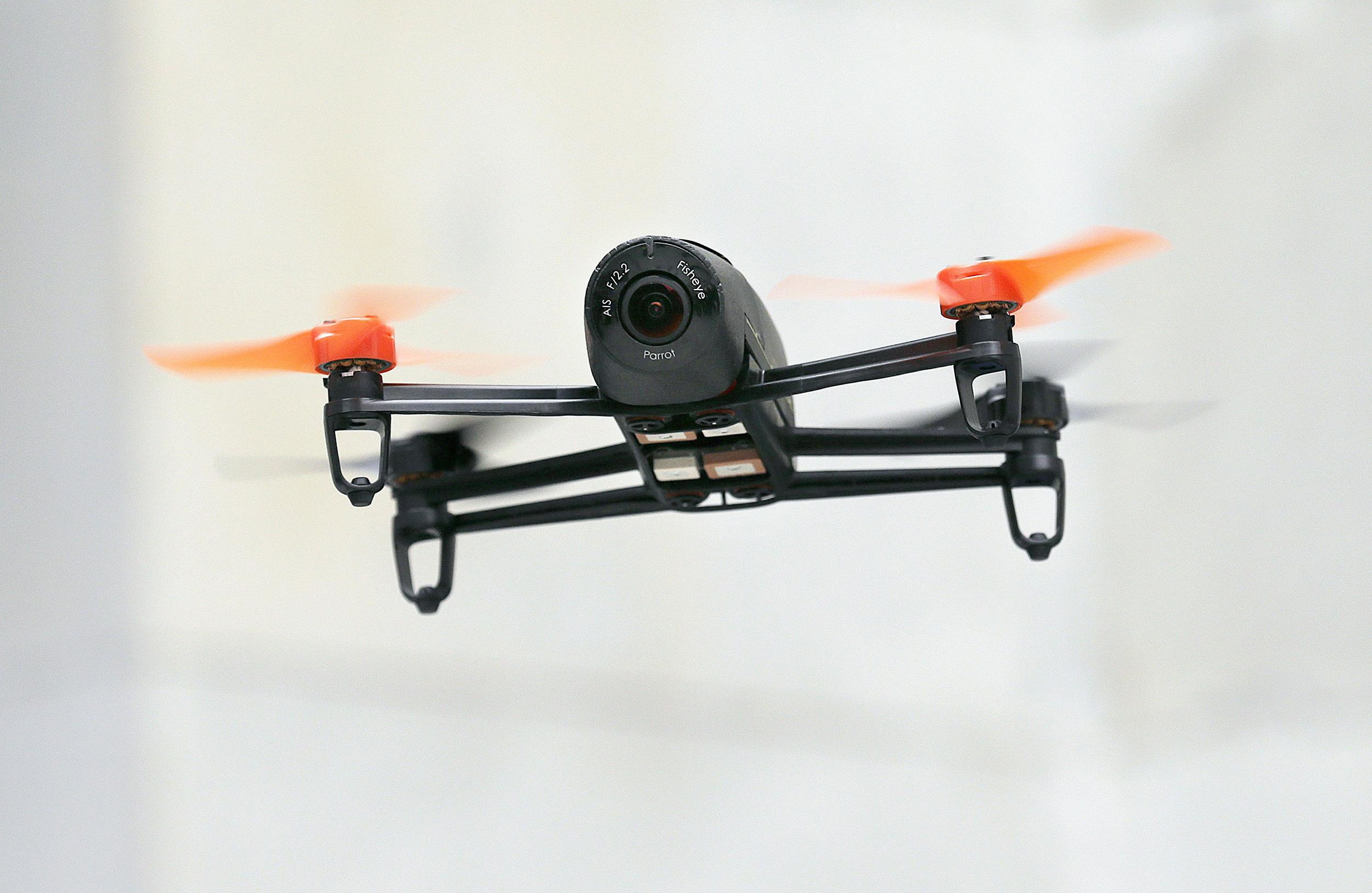 Image: A Parrot Bebop drone flies during a demonstration
