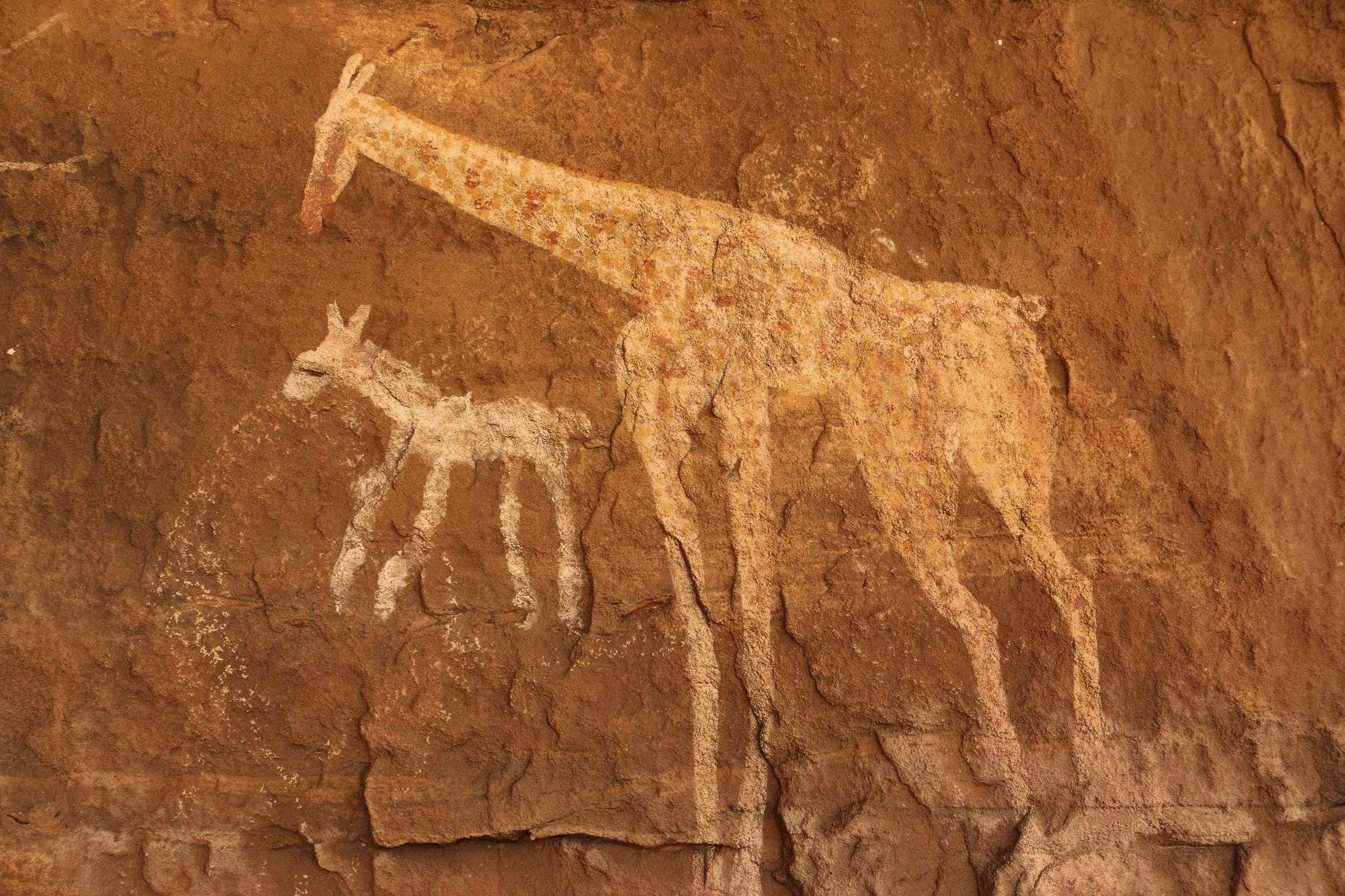 Image: Vandalised rock art is pictured at Tadrart Acacus