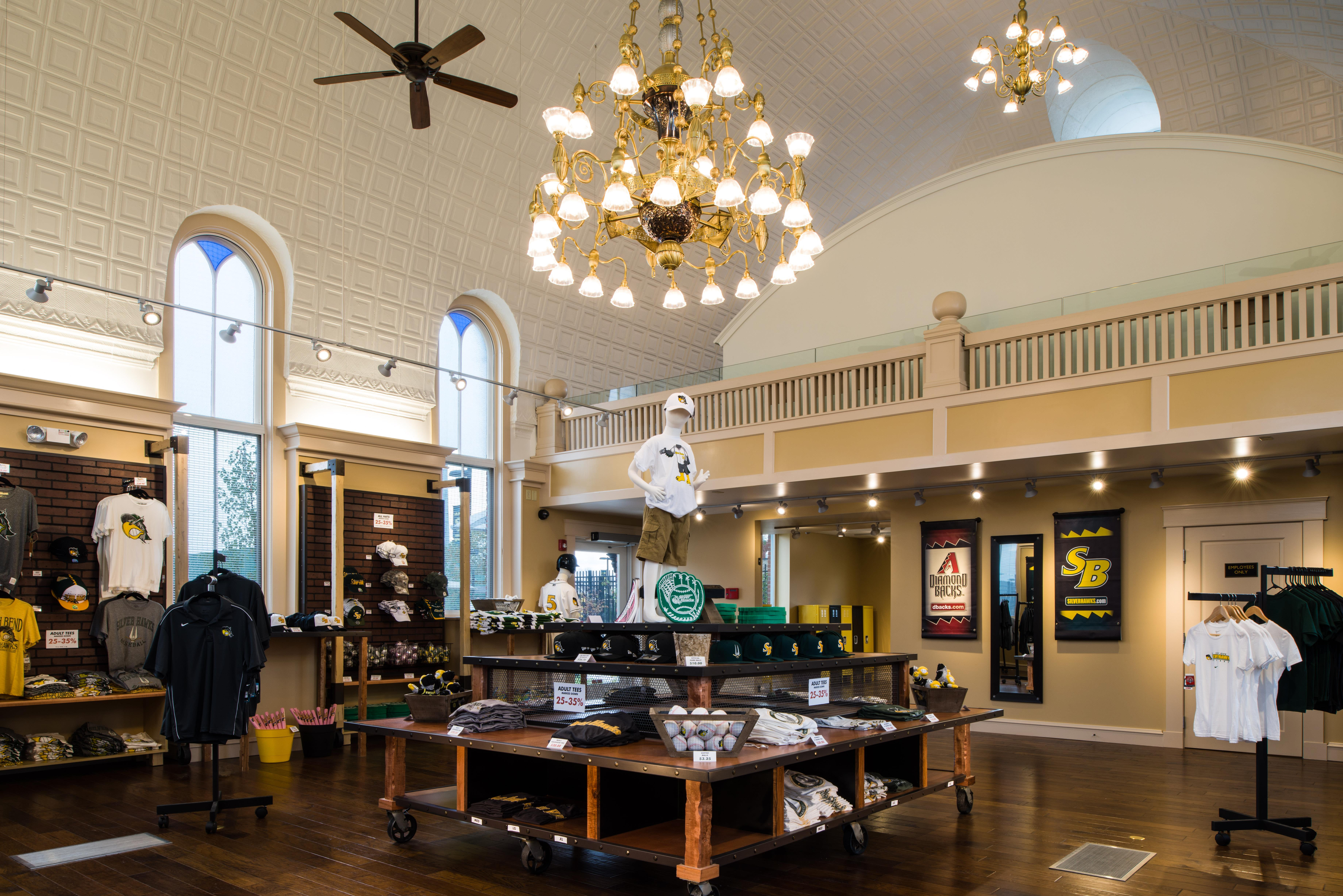 Image: The South Bend Silver Hawks' team store was formerly a Jewish synagogue.