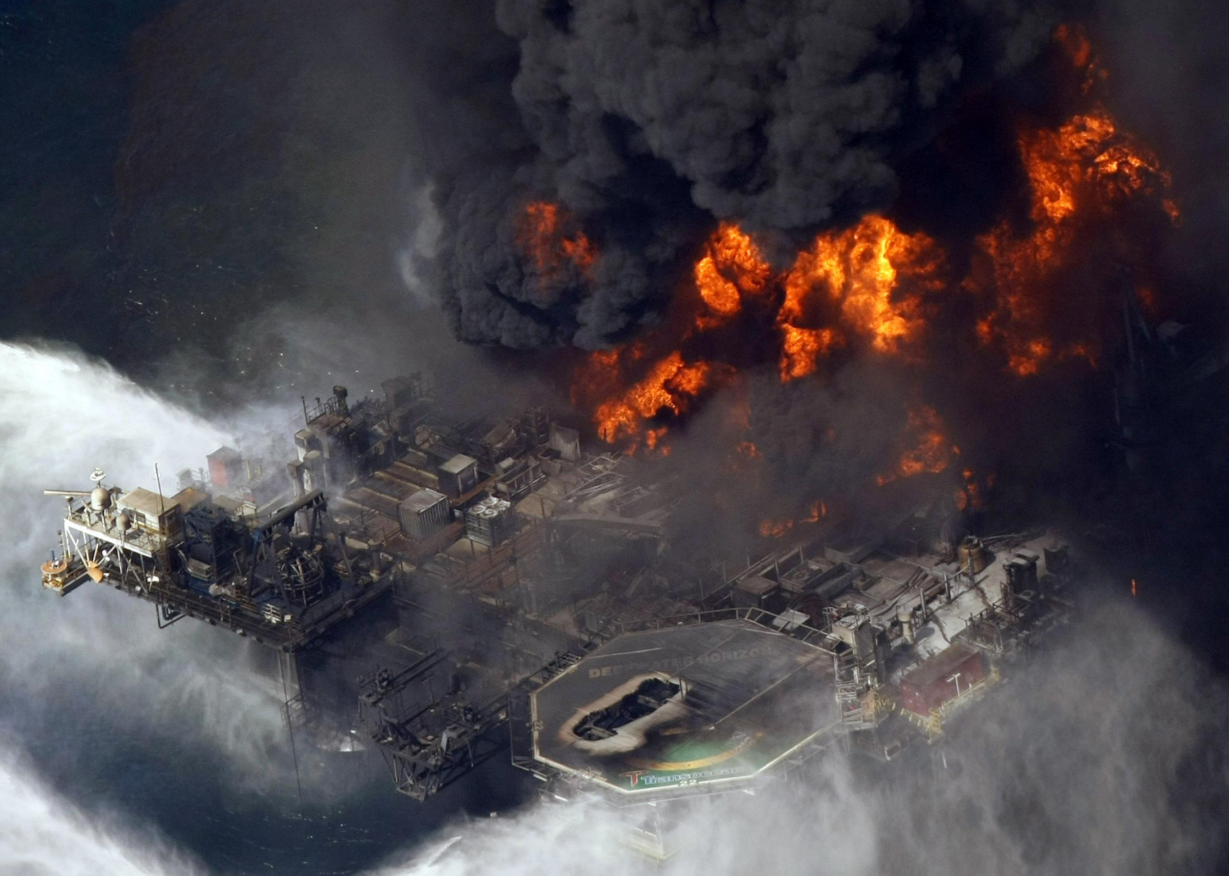 Image: The Deepwater Horizon oil rig is seen burning in the Gulf of Mexico more than 50 miles southeast of Venice on Louisiana's tip