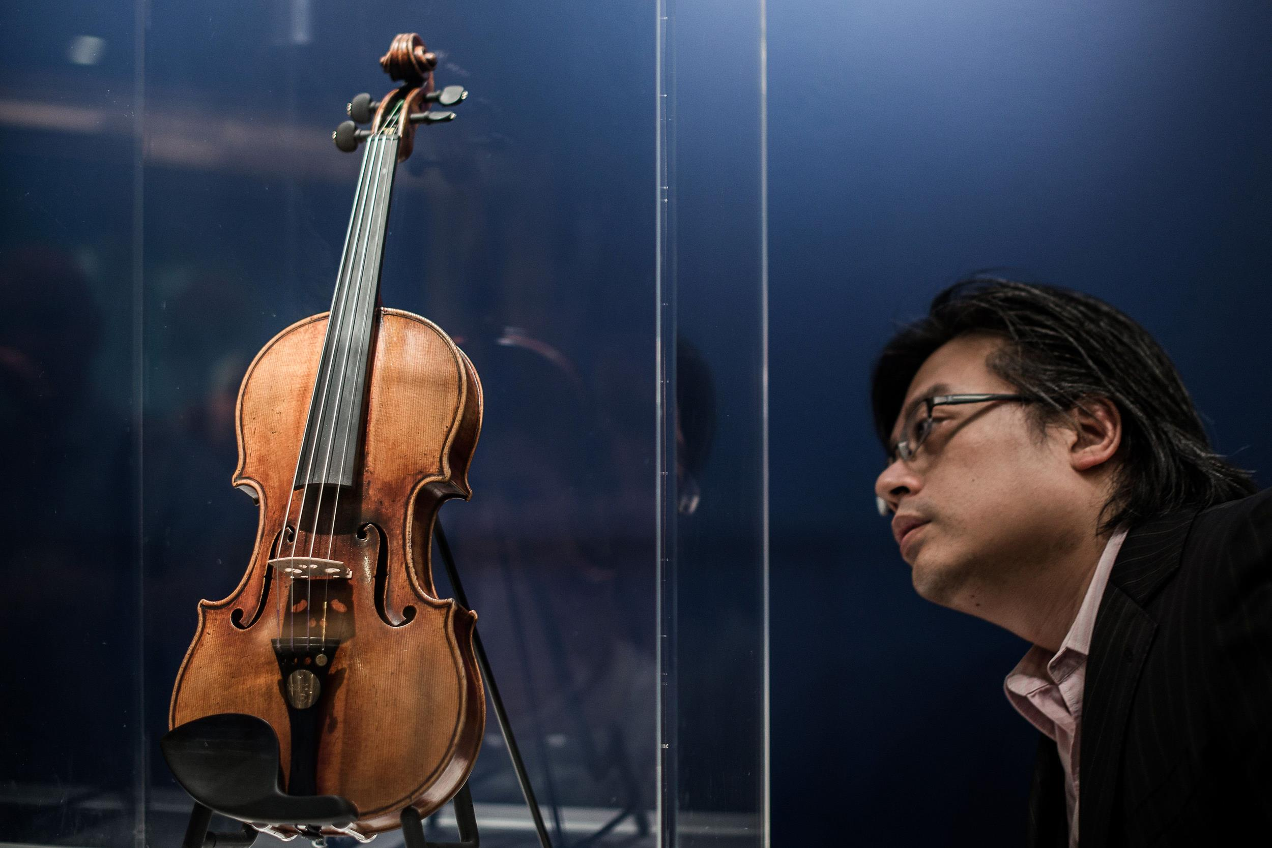 Image: A Stradivarius violin once owned by French violinist Rodolphe Kreutzer is displayed by Christie's auction house