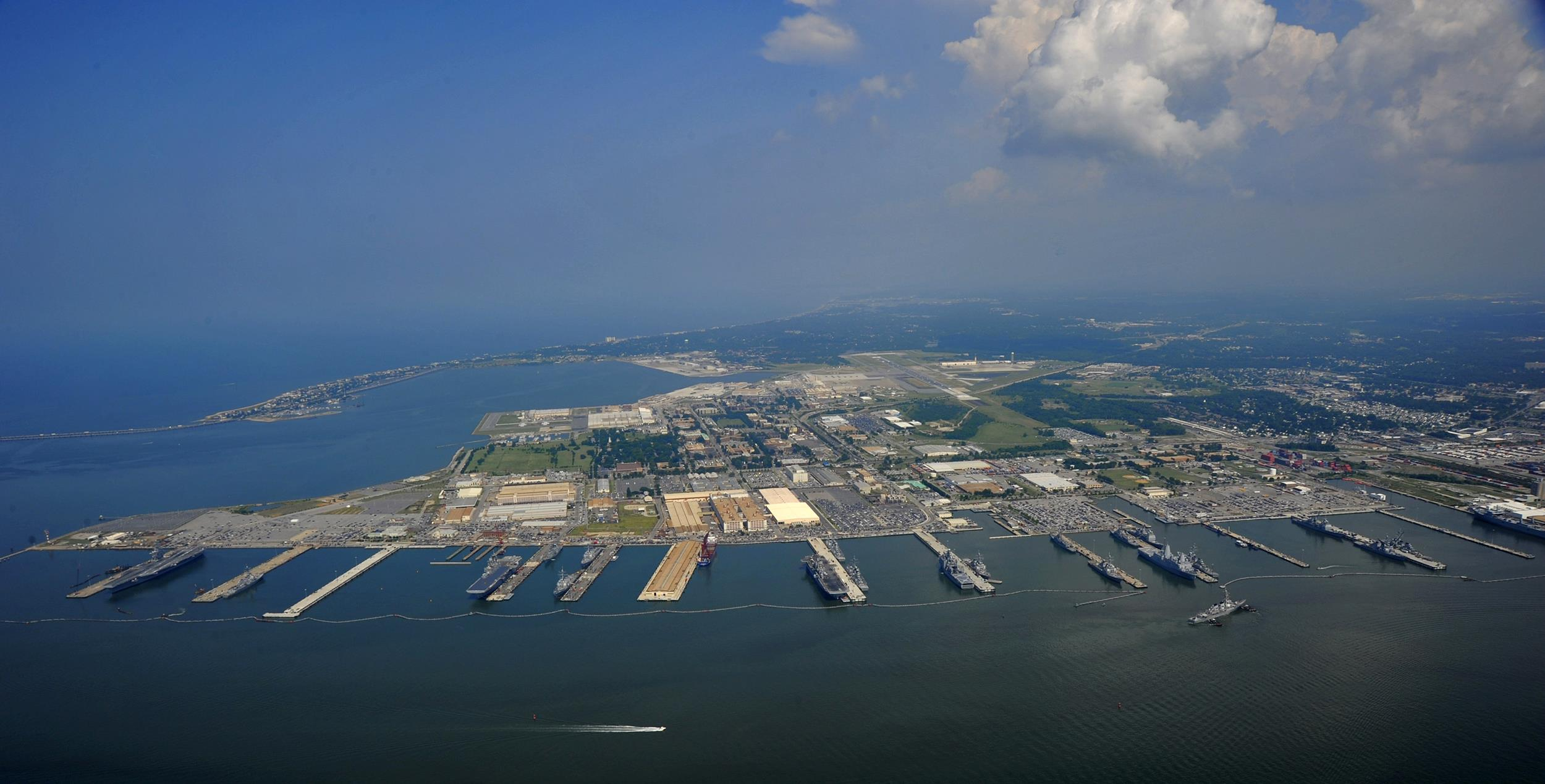 Image: An aerial view of Naval Station Norfolk, Virginia, the largest naval base in the world